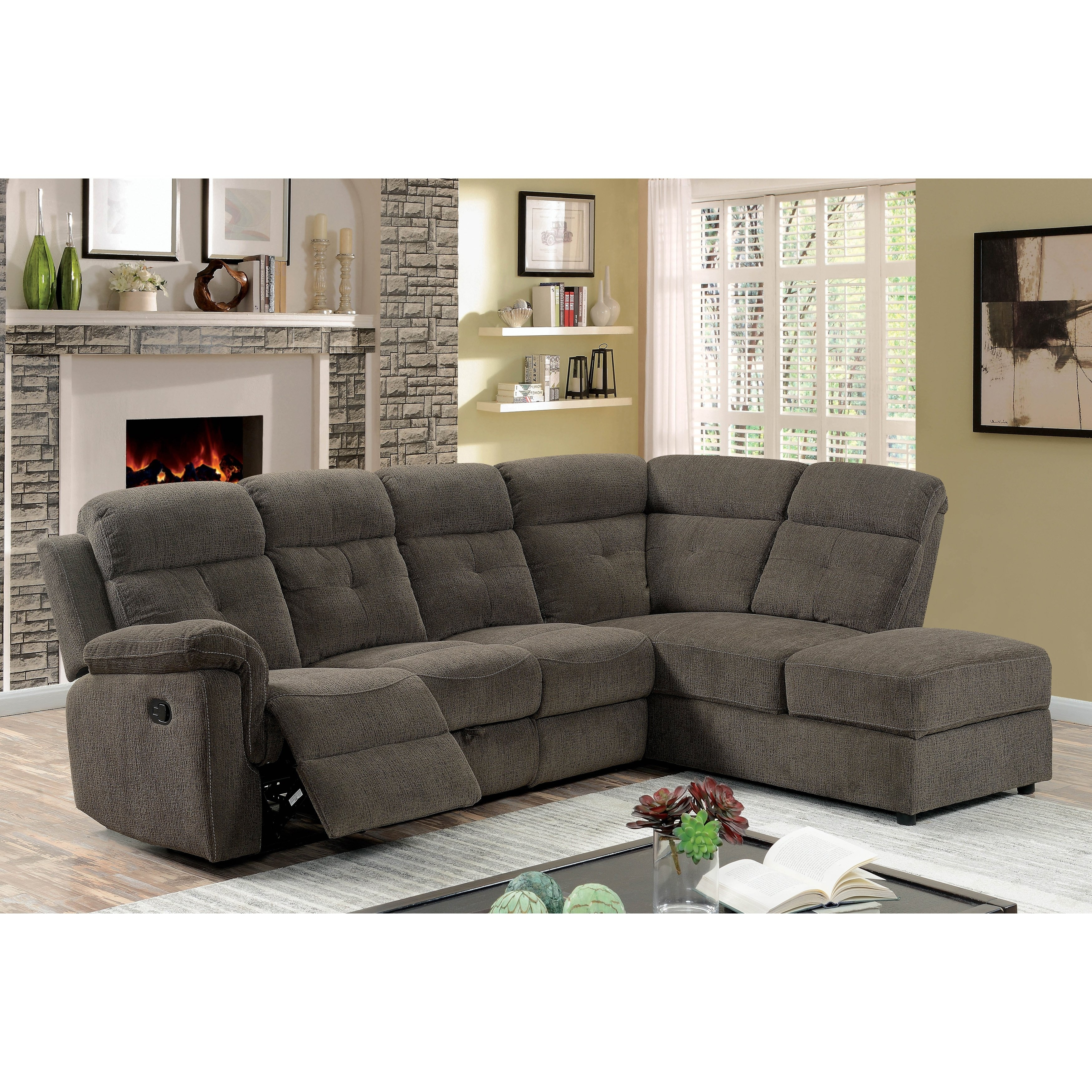 Shop Furniture Of America Russell Grey Storage Reclining Sectional inside Marcus Grey 6 Piece Sectionals With  Power Headrest & Usb (Image 27 of 30)