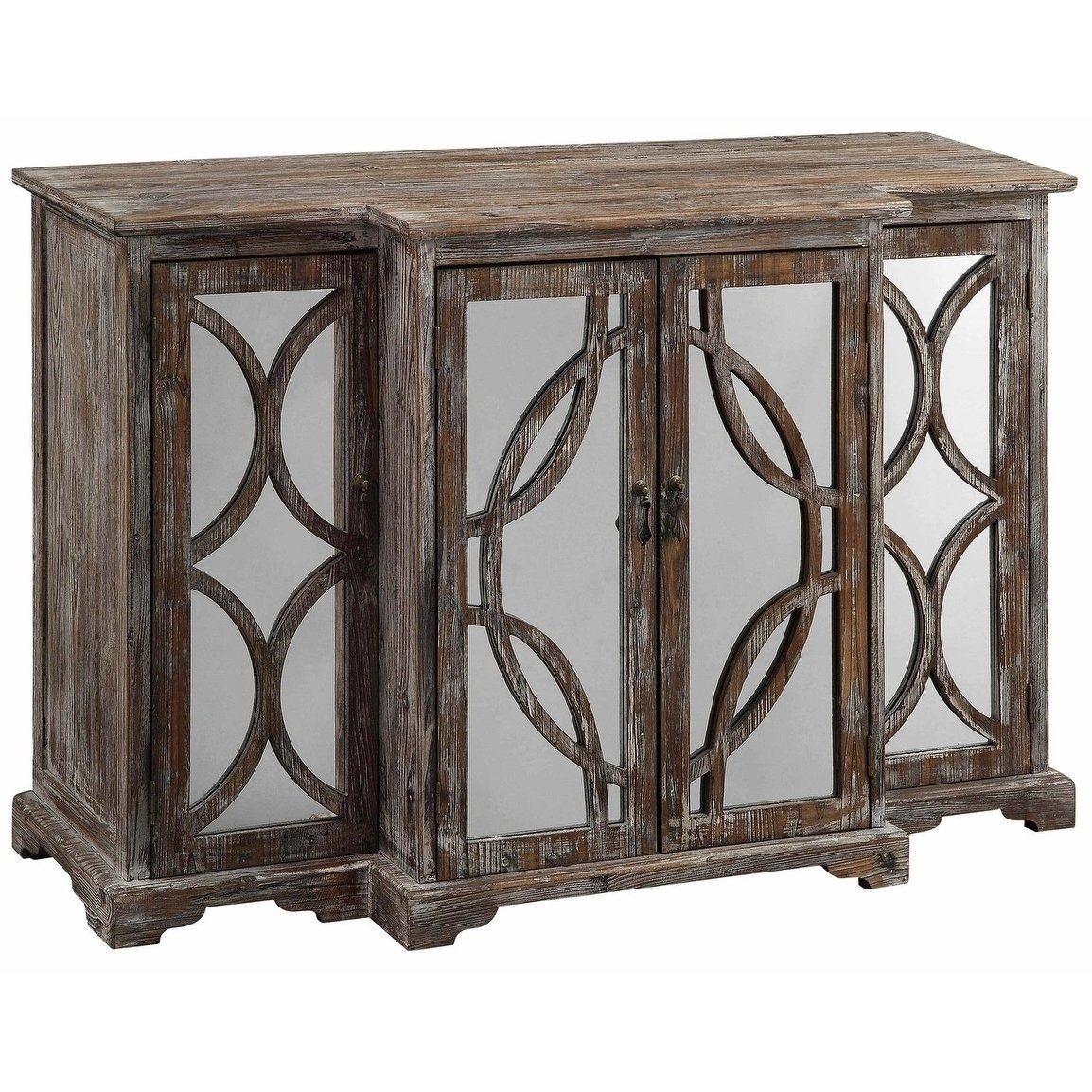 Shop Galloway Dark Brown Rustic Wood And Mirror 4-Door Sideboard with Aged Mirrored 4 Door Sideboards (Image 27 of 30)