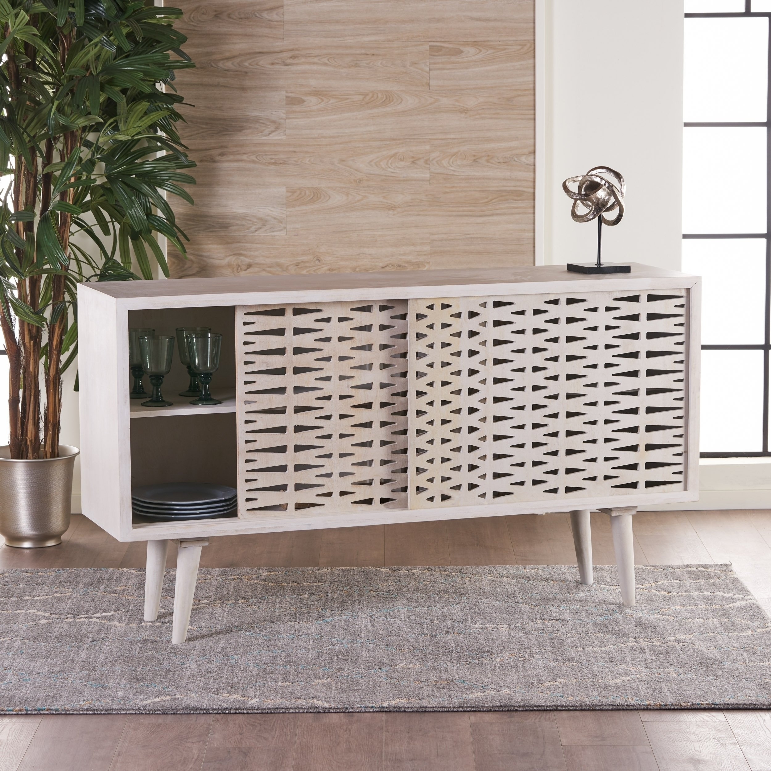 Shop Gibson Wood Sideboard Buffet Cabinet With Sliding Door Inside 3 Drawer/2 Door White Wash Sideboards (View 20 of 30)