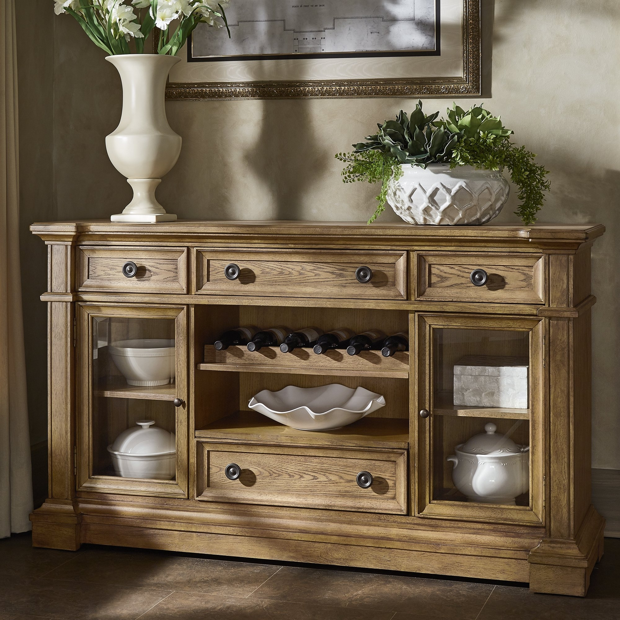 Shop Gilderoy Natural Oak Finish Buffetinspire Q Artisan – On Pertaining To Corrugated Natural 4 Drawer Sideboards (View 26 of 30)