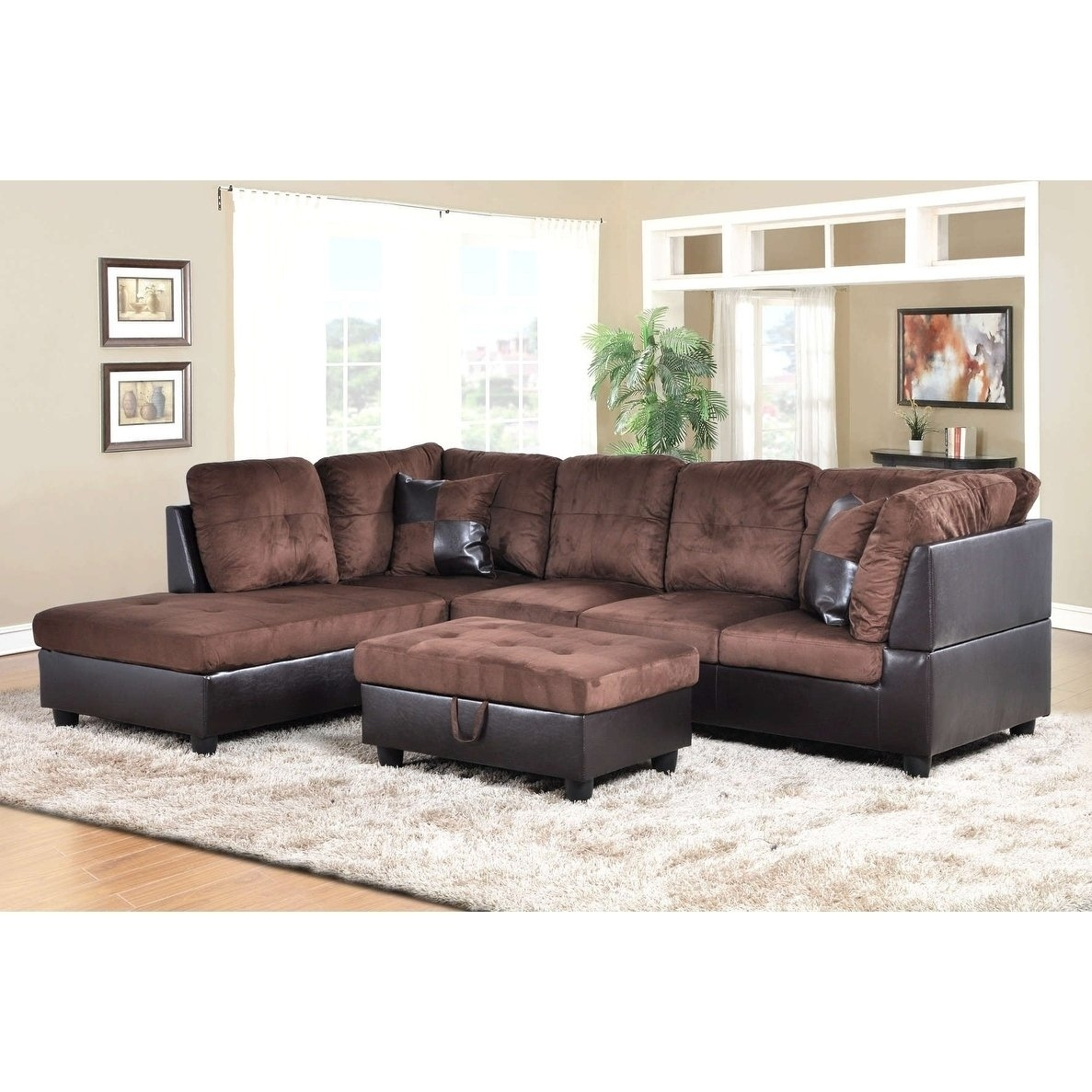 Shop Golden Coast Furniture 3-Piece Microfiber Leather Sofa with regard to Karen 3 Piece Sectionals (Image 22 of 30)