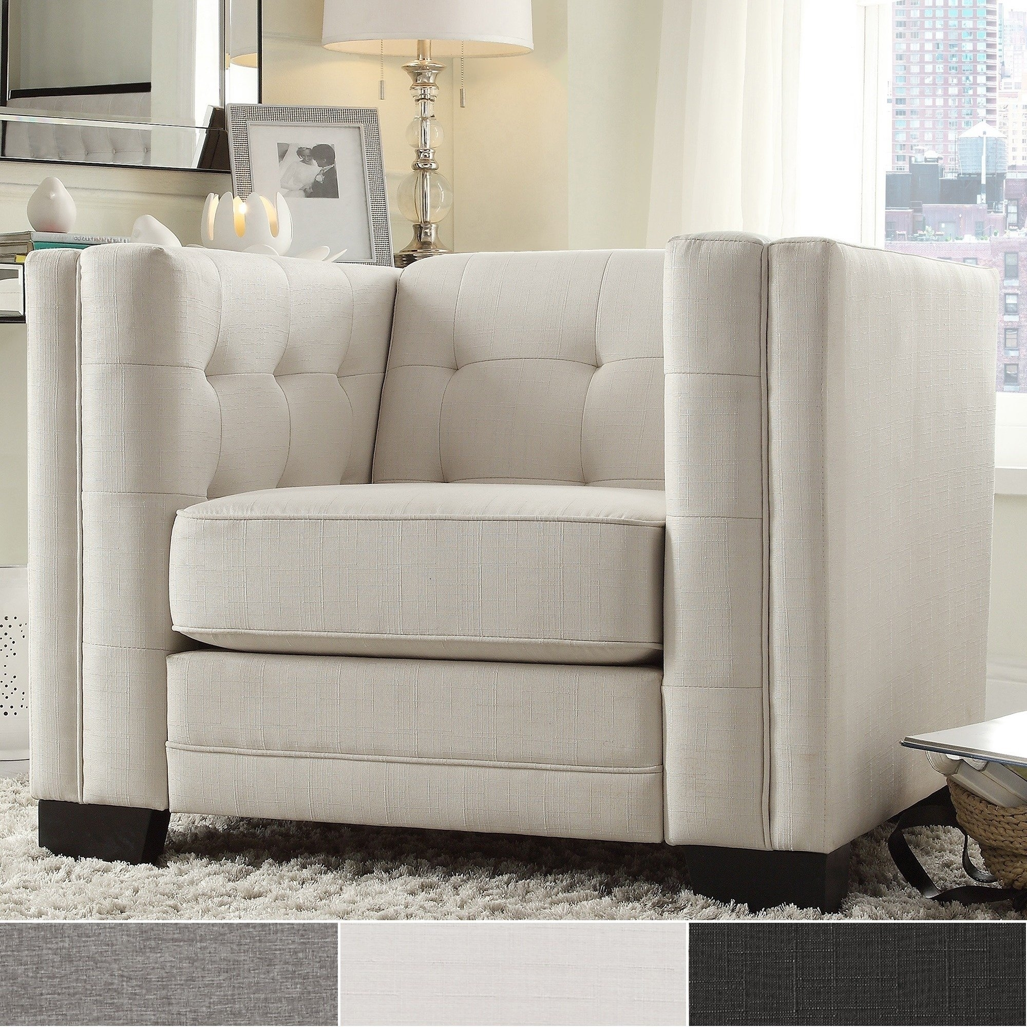 Shop Hamilton Linen Button-Tufted Accent Chairinspire Q Bold with regard to London Optical Reversible Sofa Chaise Sectionals (Image 28 of 30)