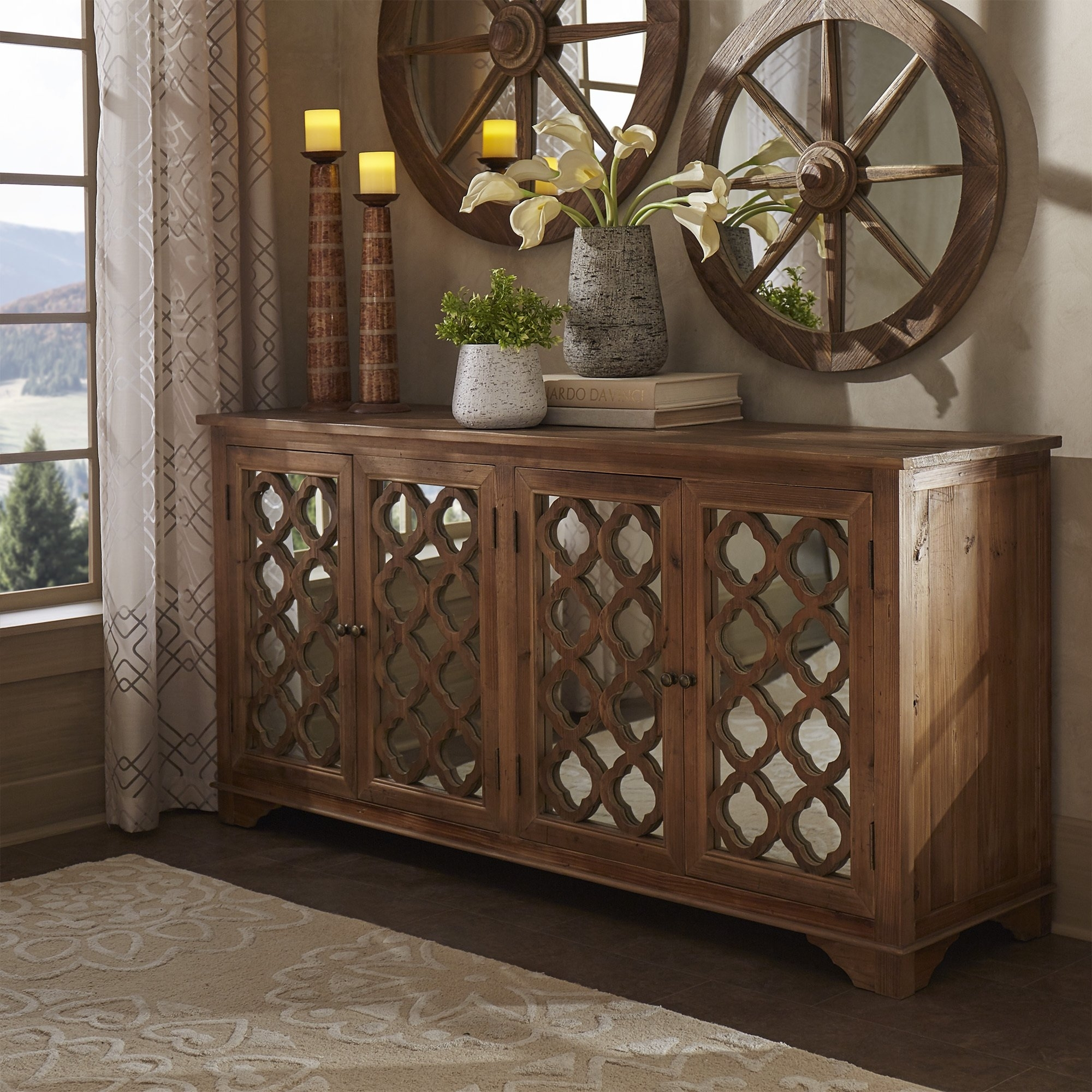 Shop Hamptons Quatrefoil Reclaimed Wood Mirrored Buffet Sideboard Within Metal Framed Reclaimed Wood Sideboards (View 22 of 30)