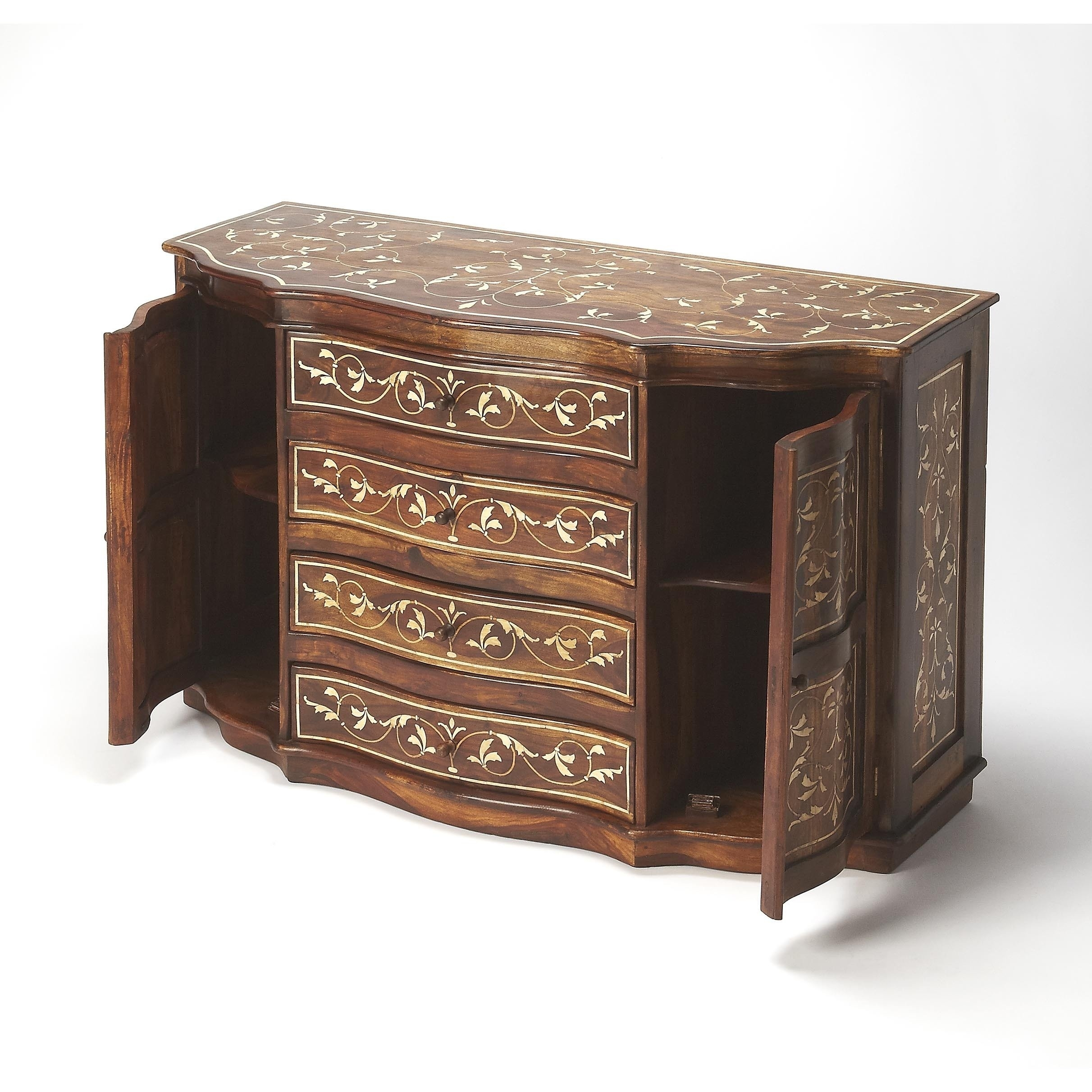 Shop Handmade Butler Chevrier Wood & Bone Inlay Sideboard (India with regard to Geo Pattern Black And White Bone Inlay Sideboards (Image 27 of 30)