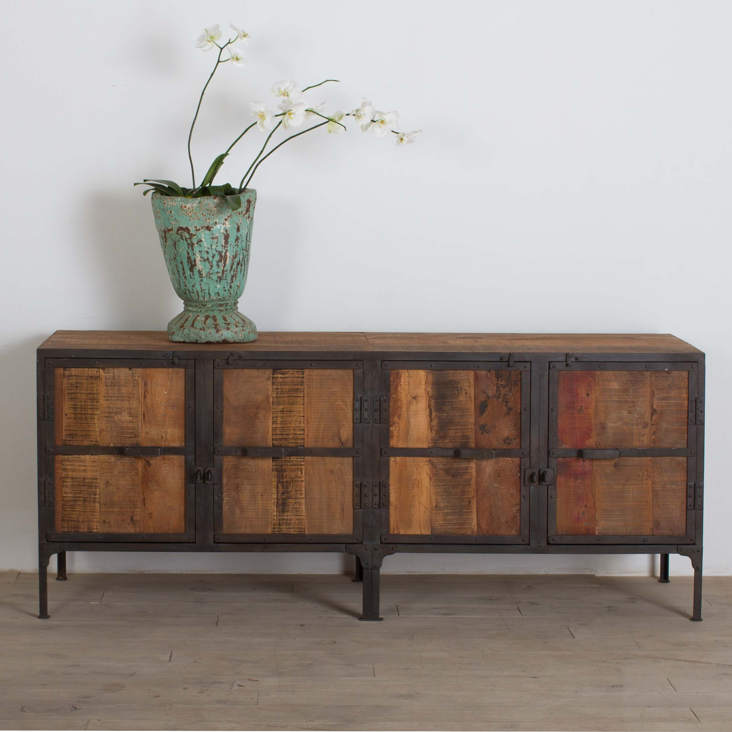 Shop Handmade Cg Sparks Handmade Hyderabad Reclaimed Wood And Metal within White Wash Carved Door Jumbo Sideboards (Image 27 of 30)