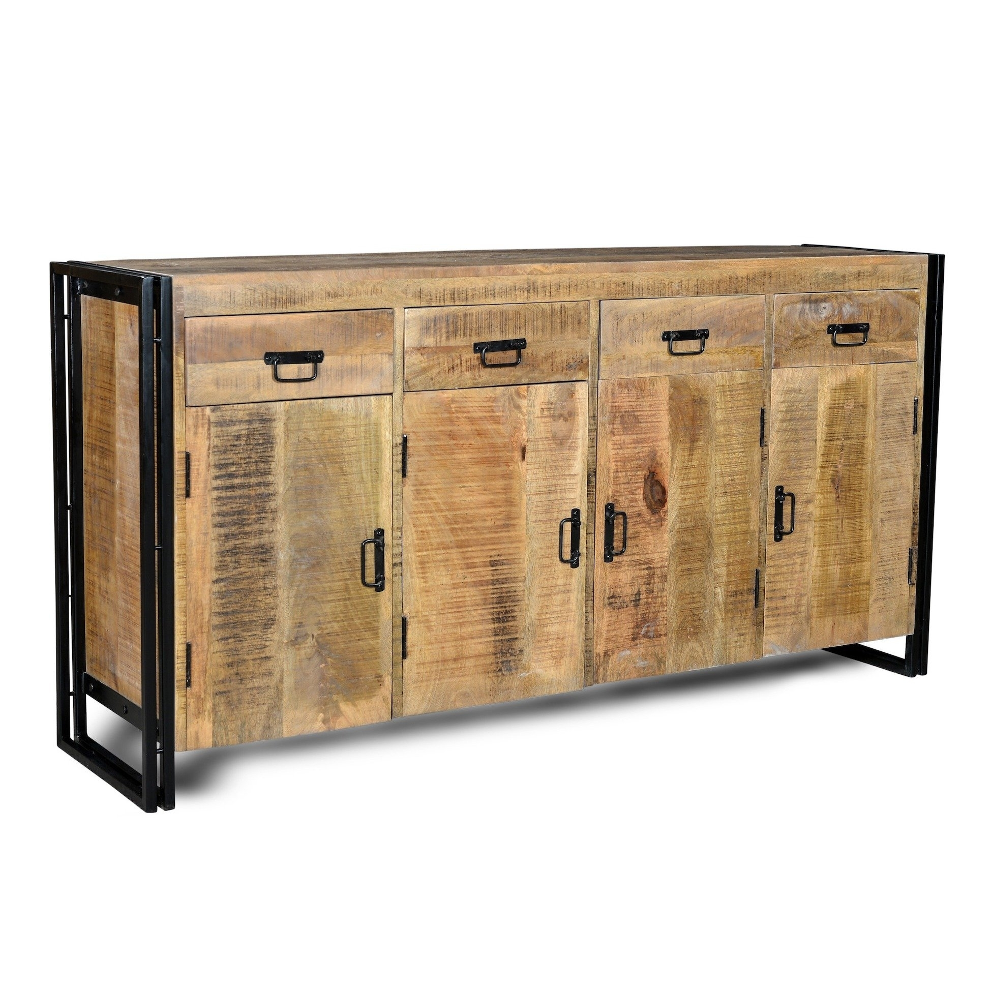 Shop Handmade Industrial Reclaimed Wood And Iron Sideboard (India in Reclaimed Sideboards With Metal Panel (Image 21 of 30)