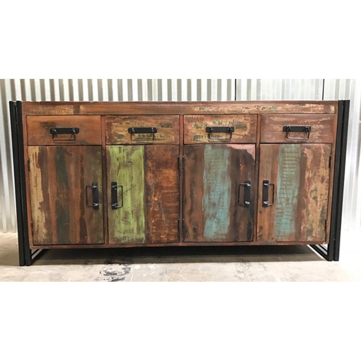 Shop Handmade Timbergirl Old Reclaimed Wood And Iron 4-Door 4-Drawer within Reclaimed Pine & Iron 4-Door Sideboards (Image 23 of 30)