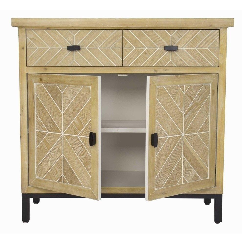 Shop Homeroots Kitchen Urban 2 Drawer 2 Door Parquet Sideboard for White Wash 2-Door Sideboards (Image 16 of 30)