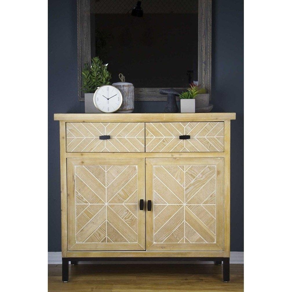 Shop Homeroots Kitchen Urban 2 Drawer 2 Door Parquet Sideboard pertaining to White Wash 2-Door Sideboards (Image 17 of 30)