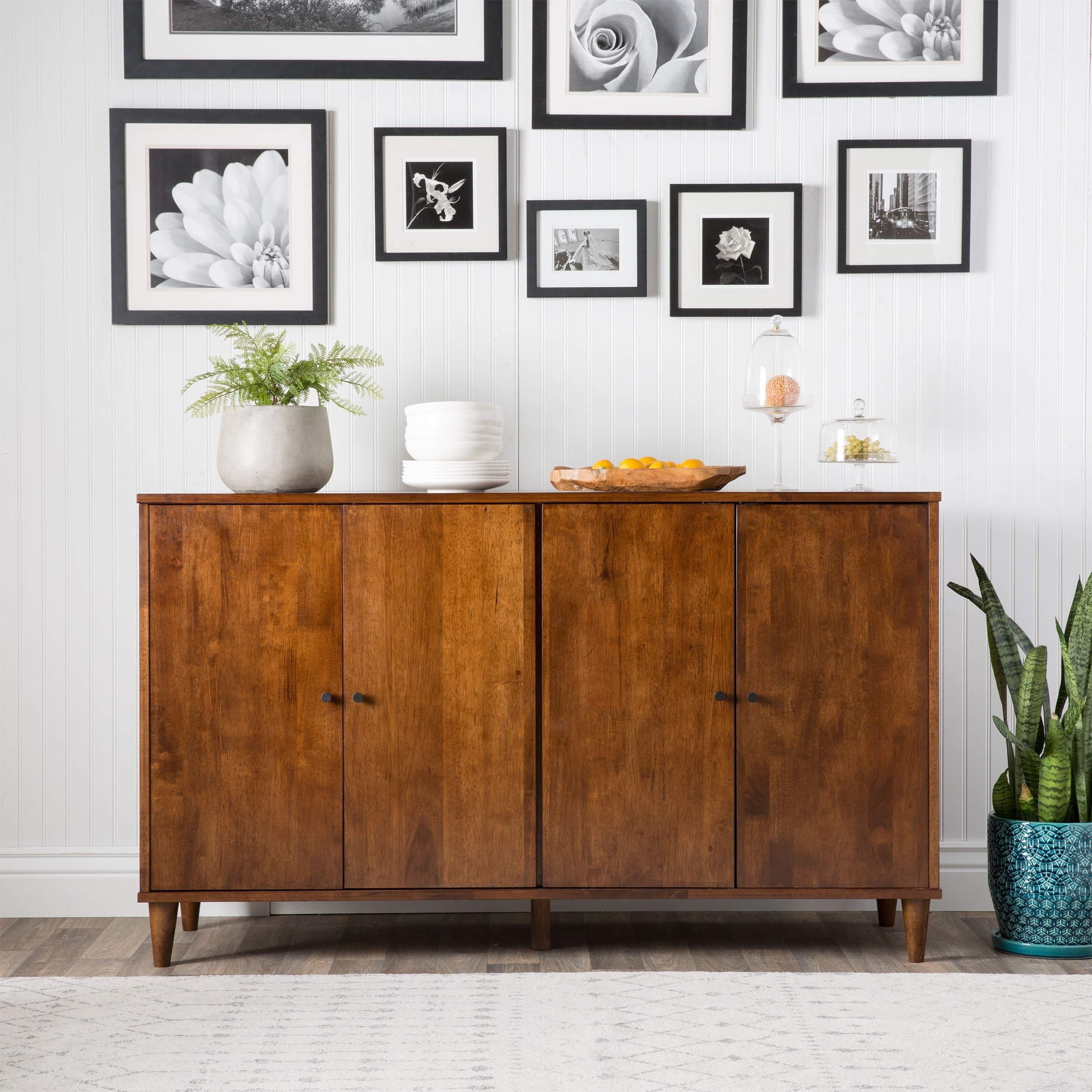 Shop Jasper Laine Vilas Tobacco-Finished 4-Door Dining Buffet - Free pertaining to Walnut Finish 4-Door Sideboards (Image 22 of 30)