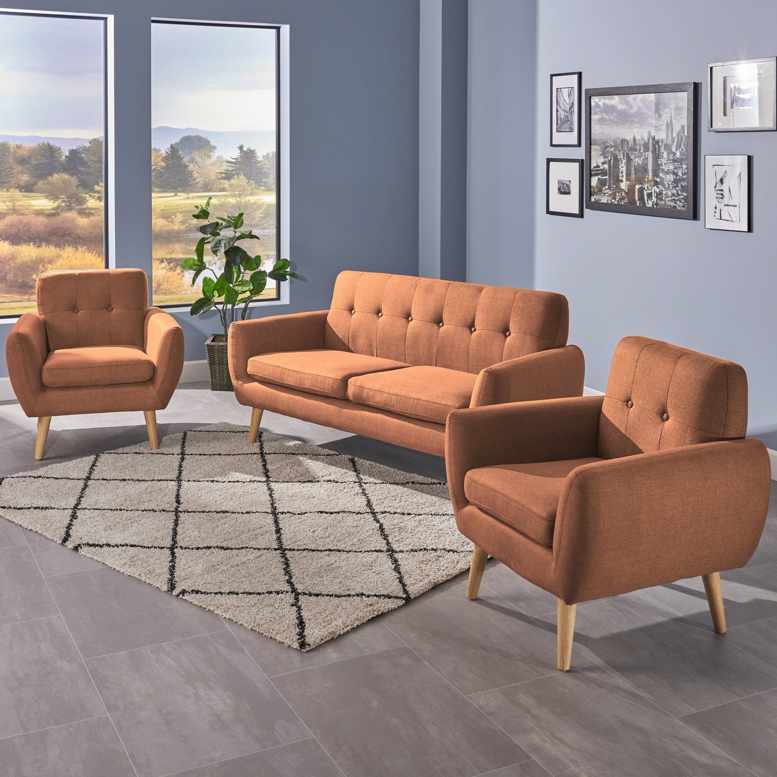 Shop Josephine Mid Century Modern 3-Piece Petite Fabric Chat Set pertaining to Josephine 2 Piece Sectionals With Raf Sofa (Image 25 of 30)