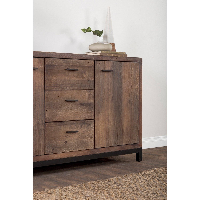 Shop Klamath Reclaimed Pine 3 Drawer 2 Door Sideboardkosas Home with Reclaimed Pine & Iron 4-Door Sideboards (Image 27 of 30)