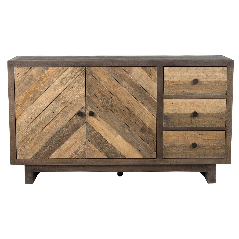 Shop Los Santos Reclaimed Wood 63-Inch Chevron Sideboardkosas with Brown Chevron 4-Door Sideboards (Image 26 of 30)