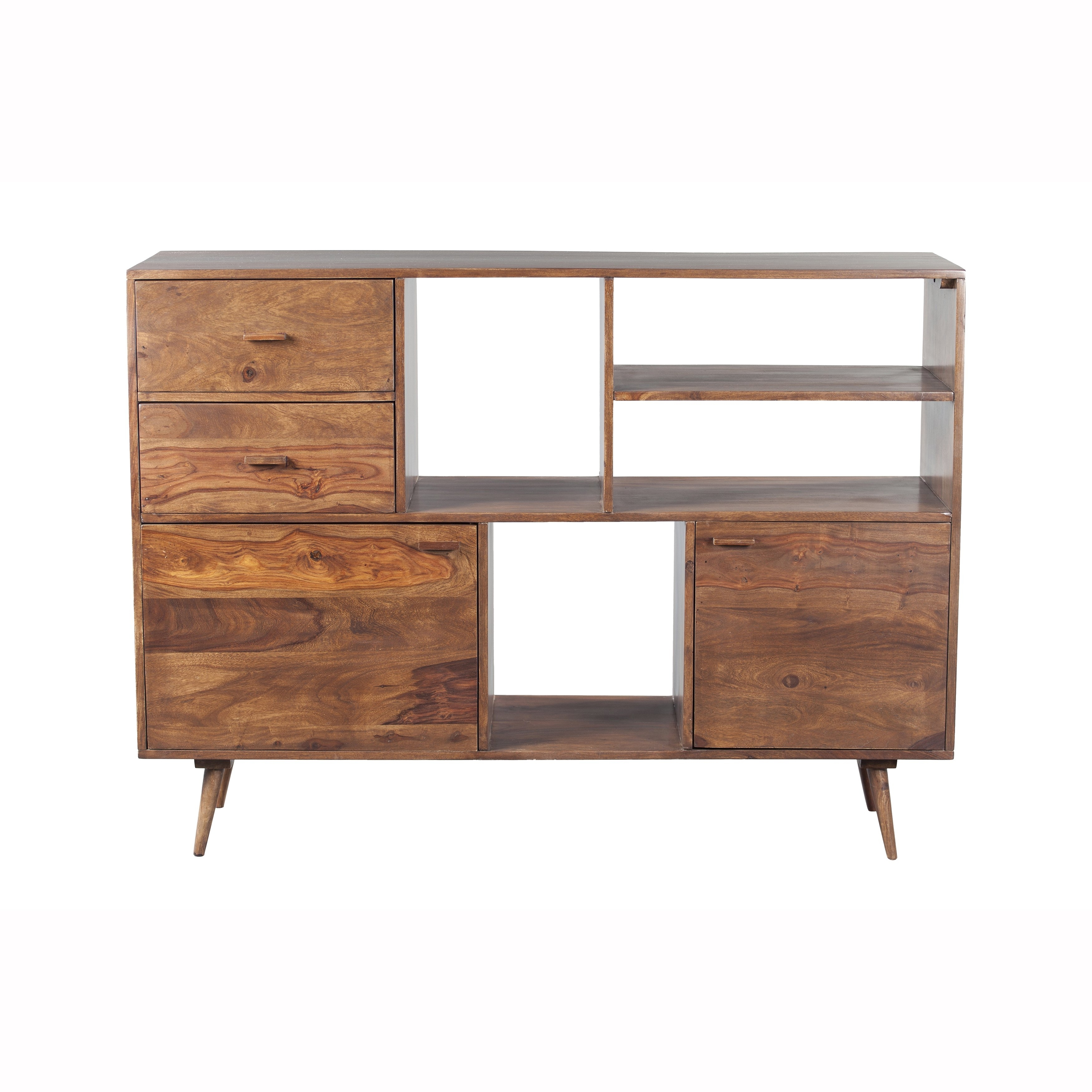 Shop Mandara Handcrafted Solid Sheesham Wood Modern Bookshelf - Free intended for Mandara 3-Drawer 2-Door Sideboards (Image 28 of 30)