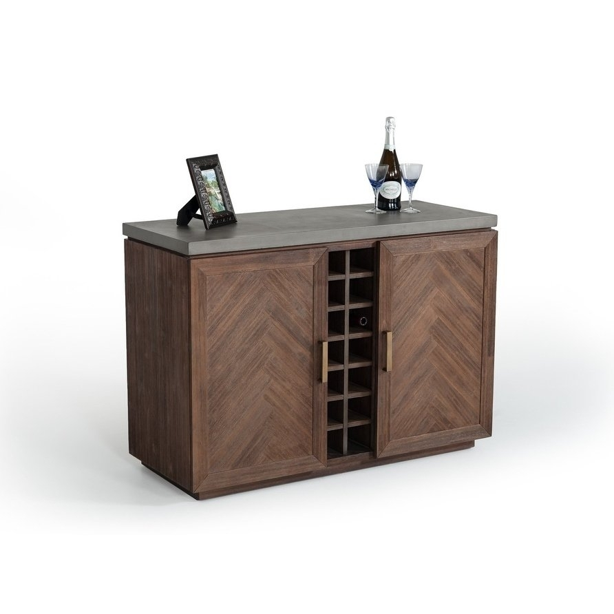 Shop Modrest Amos Modern Concrete & Acacia Wine Cabinet - On Sale intended for Amos Buffet Sideboards (Image 22 of 30)