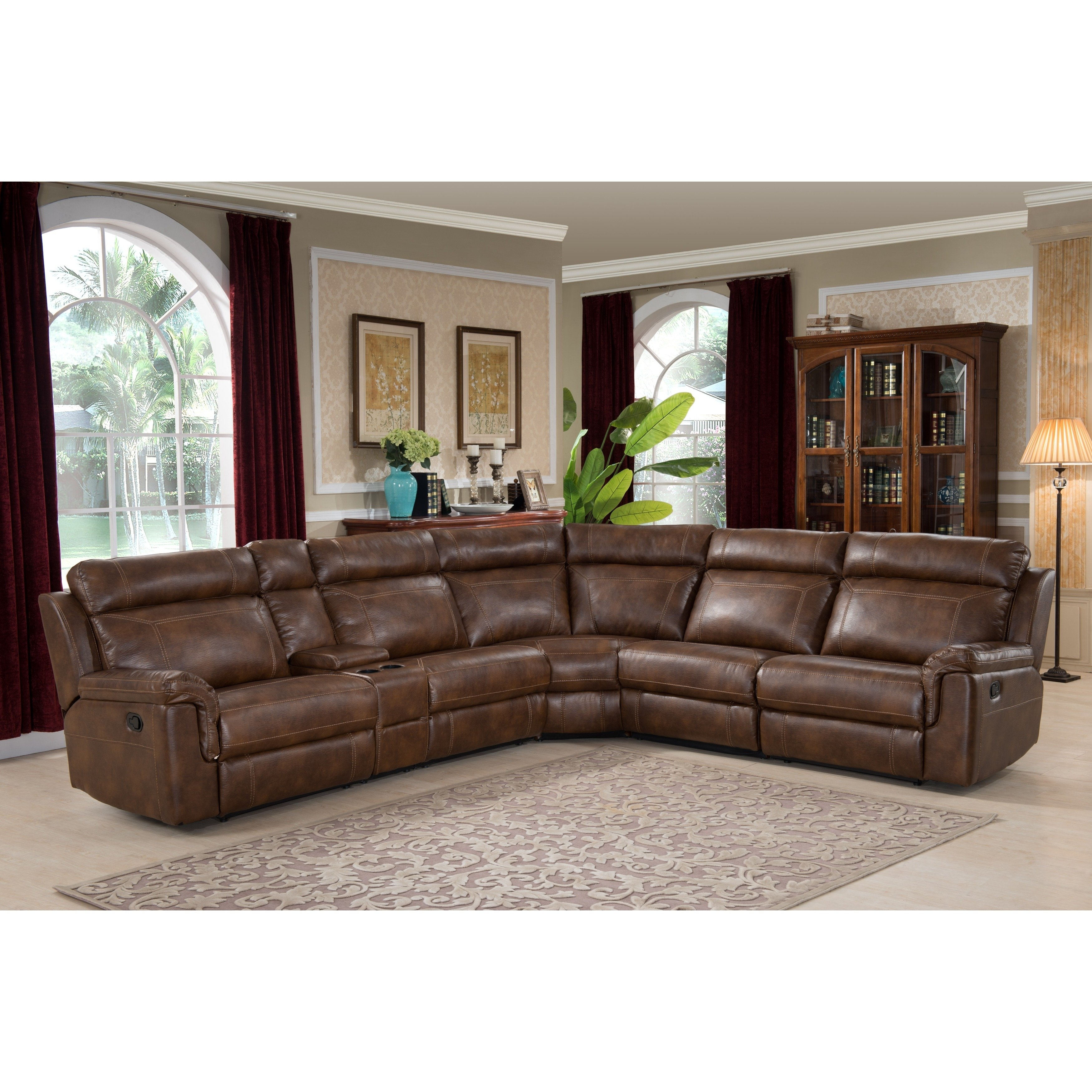 Shop Nicole Brown Large 6-Piece Family Sectional With 3 Recliners pertaining to Harper Down 3 Piece Sectionals (Image 27 of 30)