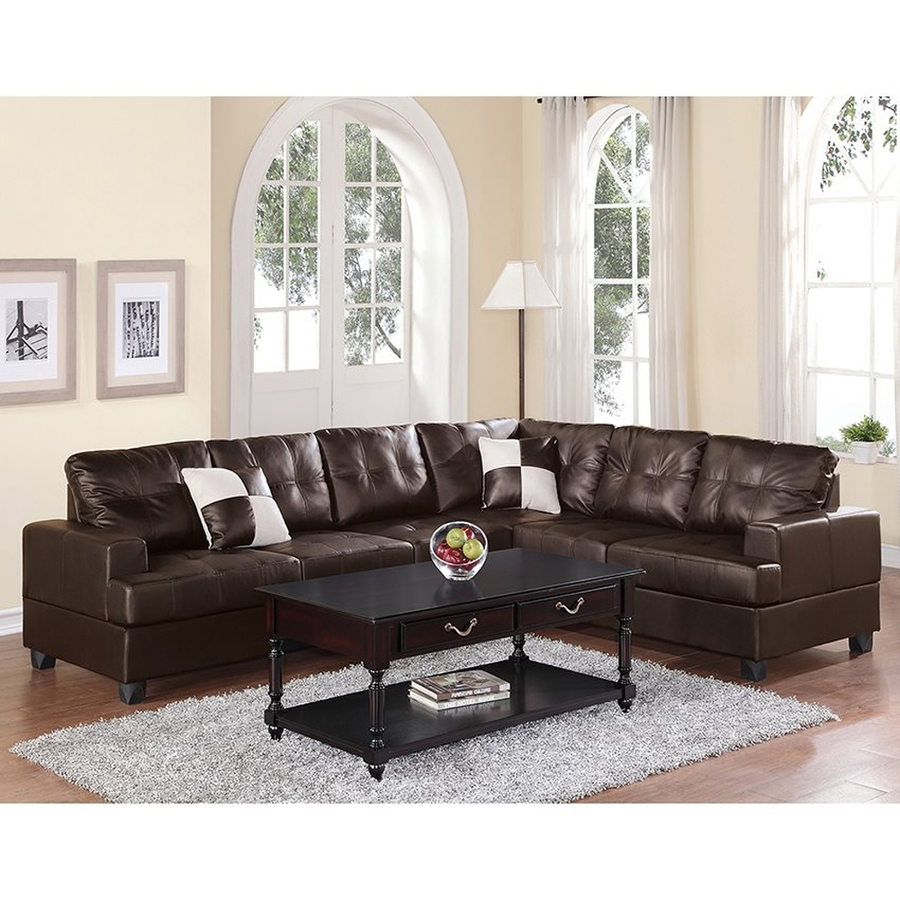 Shop Poundex Karen Casual Espresso Faux Leather Sectional At Lowes inside Karen 3 Piece Sectionals (Image 25 of 30)