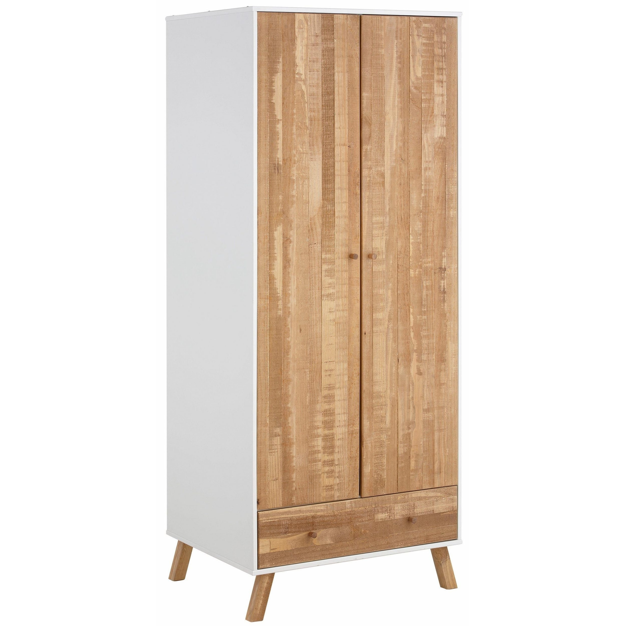 Shop Rafael 2 Door 1 Drawer Wardrobe, Solid Pine, Off White pertaining to Natural South Pine Sideboards (Image 19 of 30)