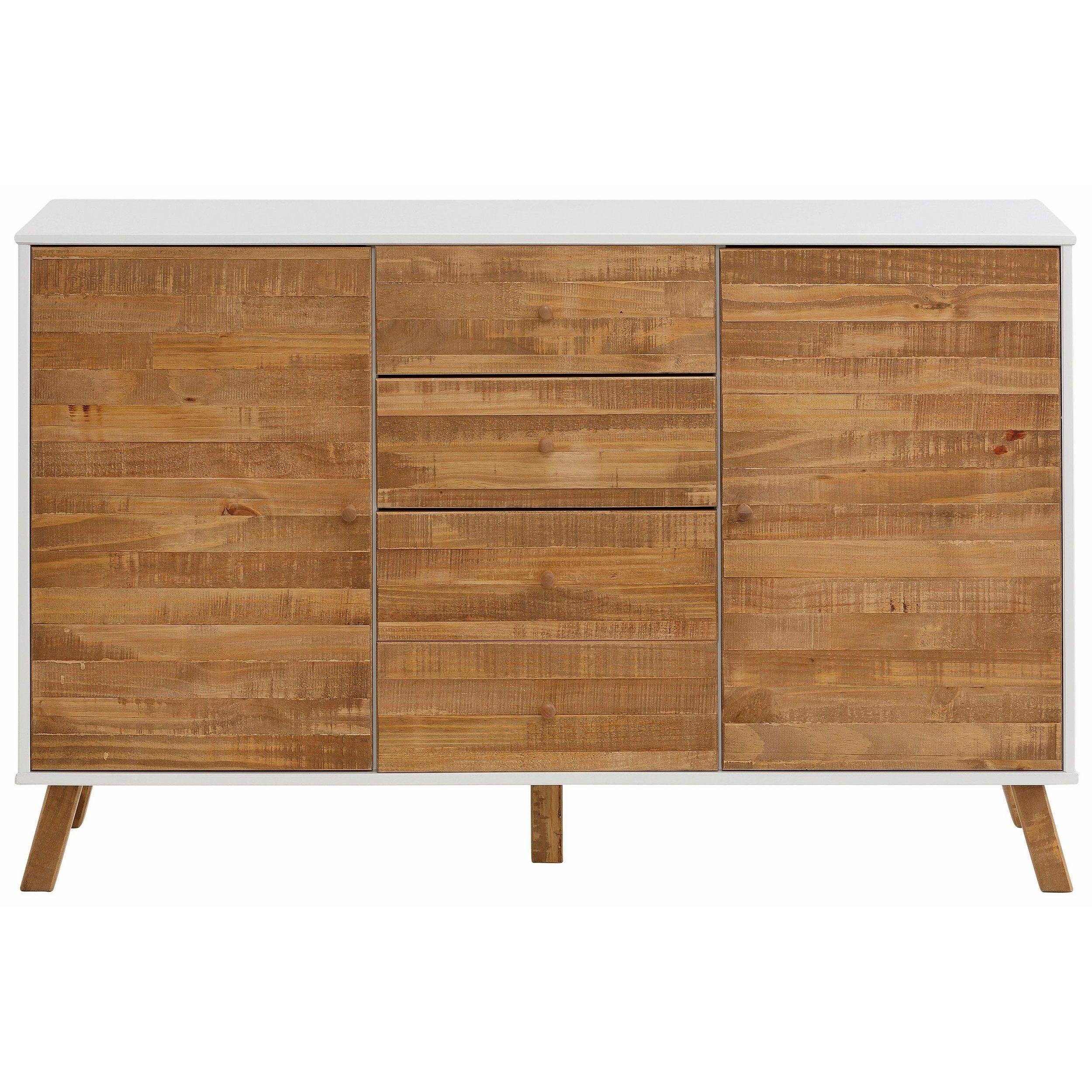 Shop Rafael 2 Door 4 Drawer Sideboard, Solid Pine, Off White pertaining to Burn Tan Finish 2-Door Sideboards (Image 24 of 30)