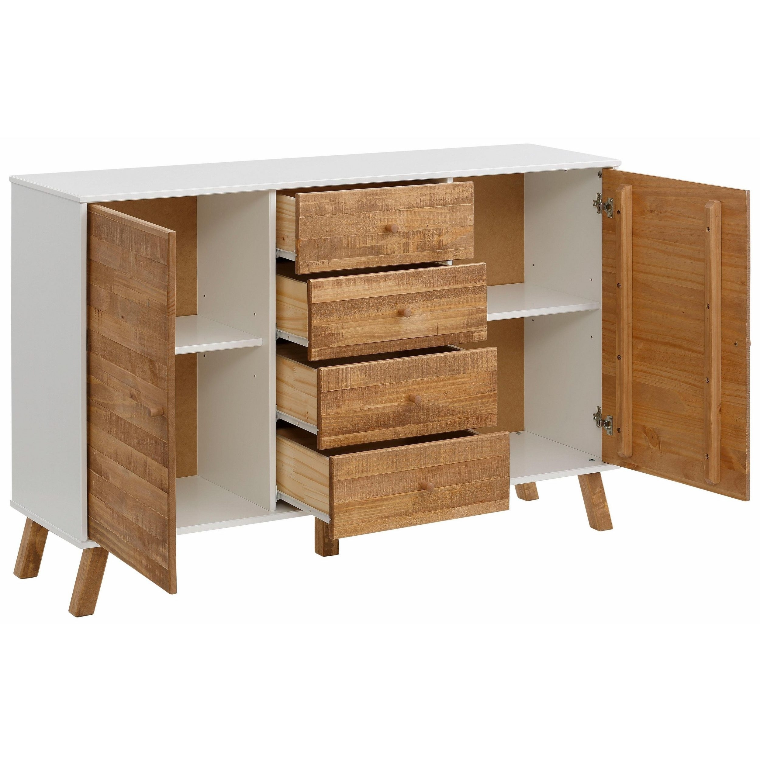 Shop Rafael 2 Door 4 Drawer Sideboard, Solid Pine, Off White within Natural South Pine Sideboards (Image 21 of 30)