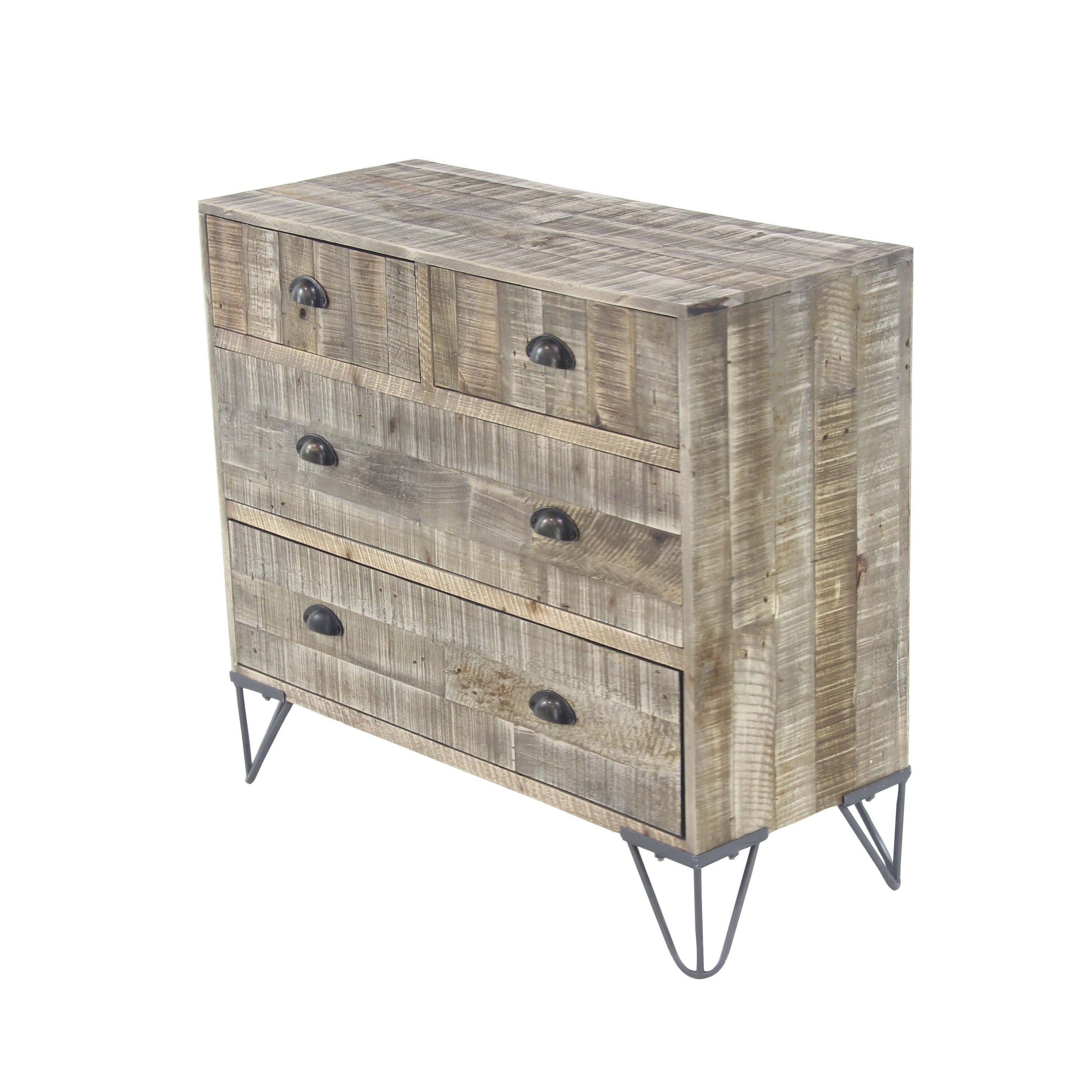 Shop Rustic Teak And Iron Brown 4-Drawer Cheststudio 350 - Free inside Light Brown Reclaimed Elm & Pine 84 Inch Sideboards (Image 24 of 30)