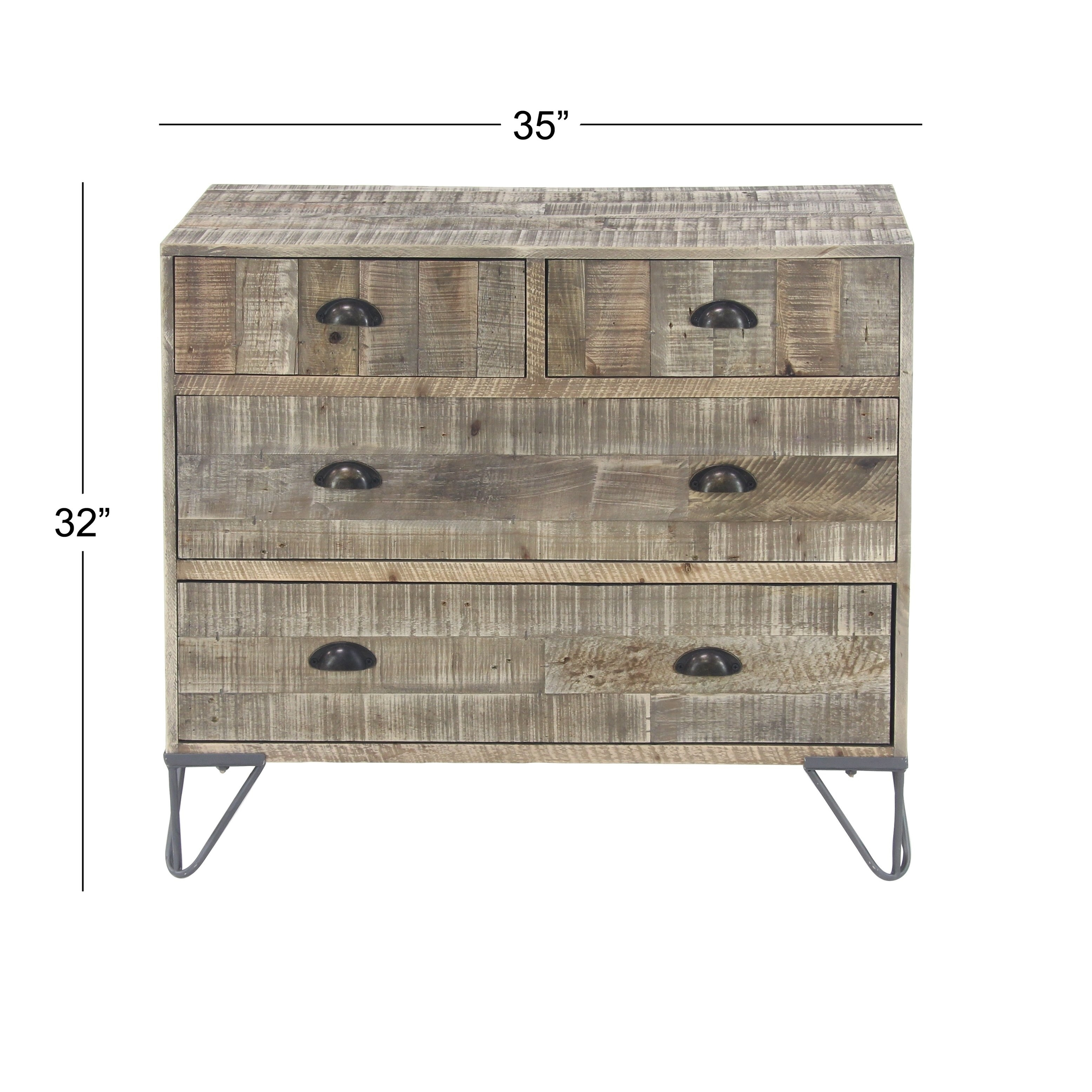 Shop Rustic Teak And Iron Brown 4-Drawer Cheststudio 350 - Free throughout Light Brown Reclaimed Elm & Pine 84 Inch Sideboards (Image 25 of 30)