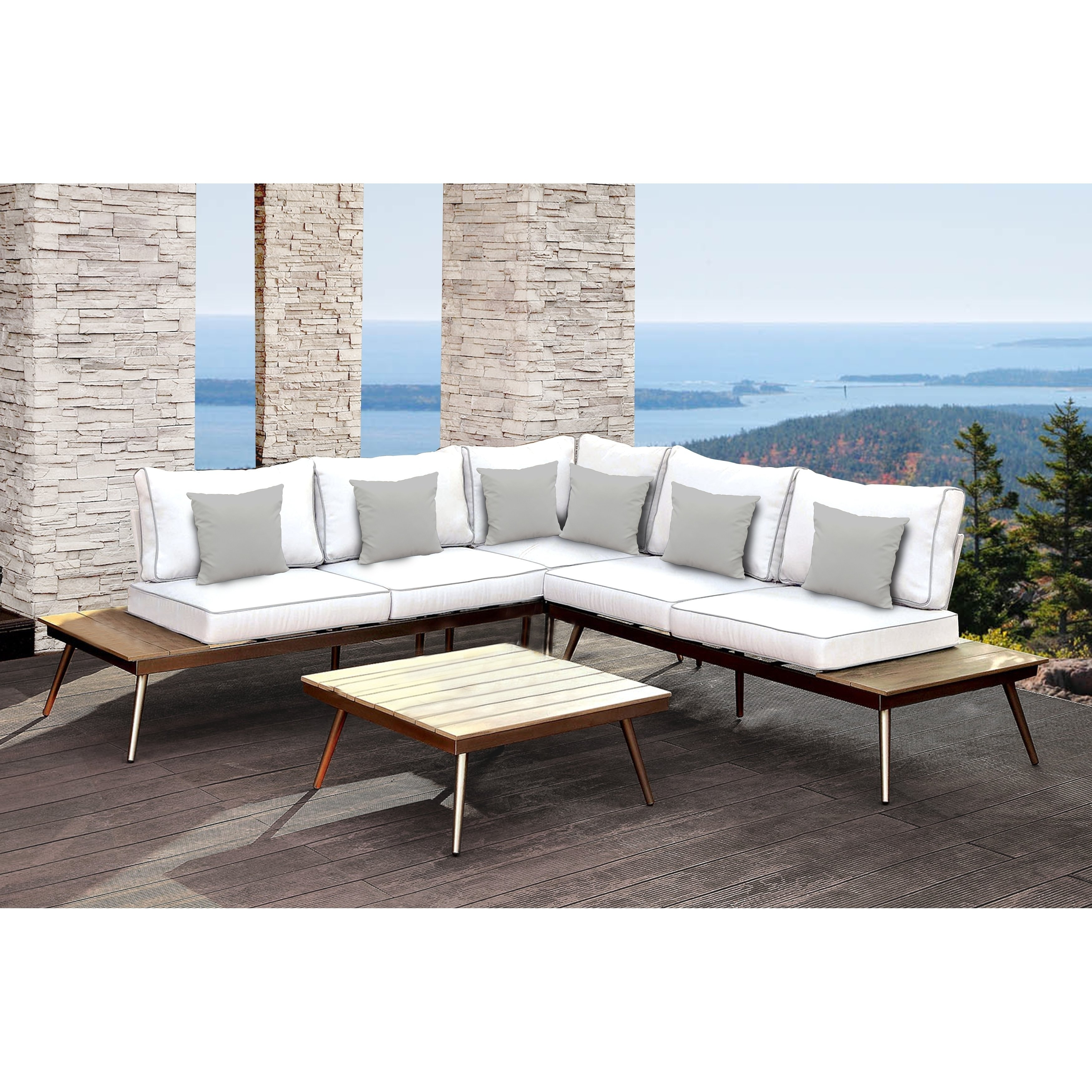 Shop Solis Artem 2-Piece Outdoor Sectional Patio Set - White, Grey pertaining to Norfolk Grey 6 Piece Sectionals (Image 27 of 30)