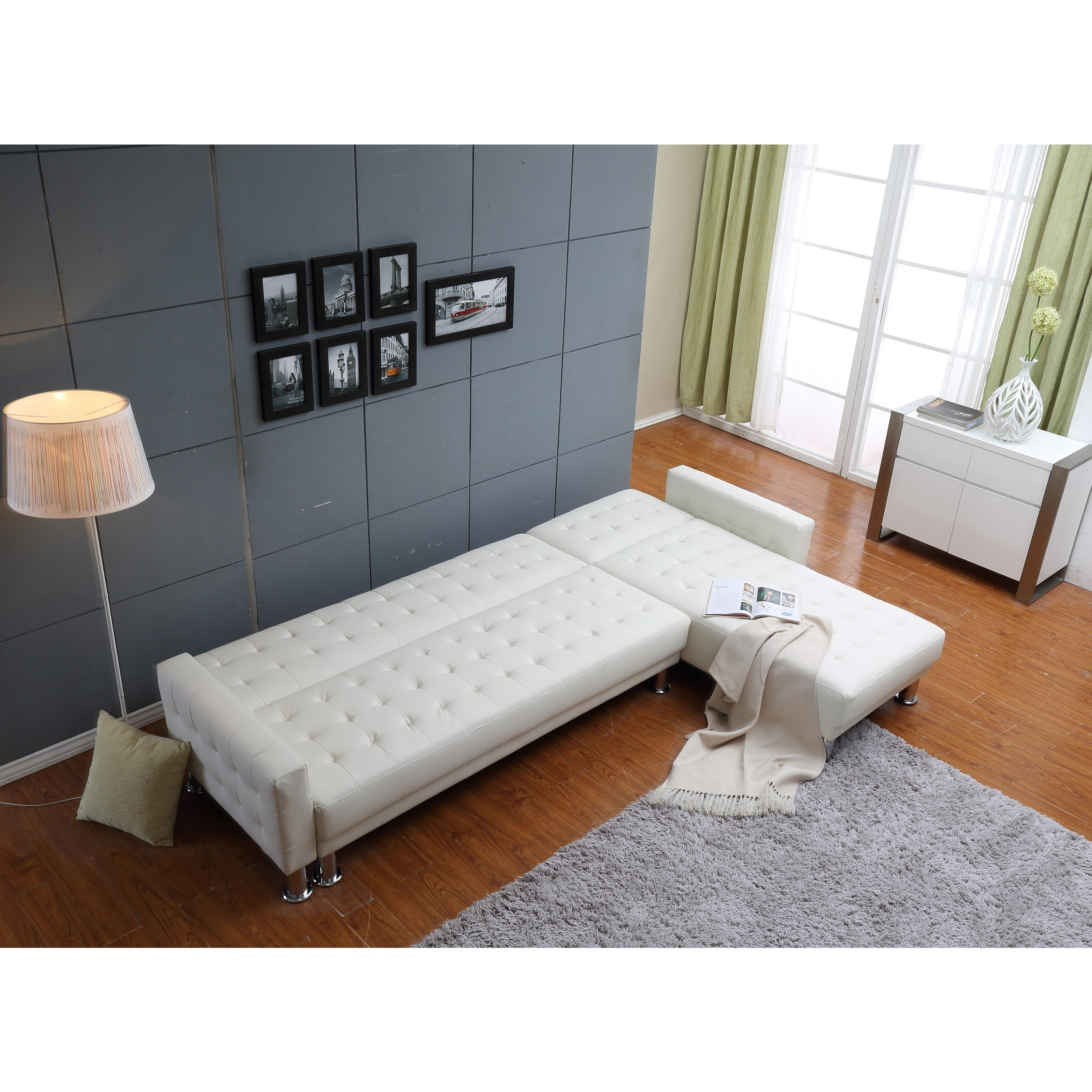 Shop The Hom Marsden 2 Piece White Tufted Bi Cast Leather Sectional Pertaining To Collins Sofa Sectionals With Reversible Chaise (View 26 of 30)