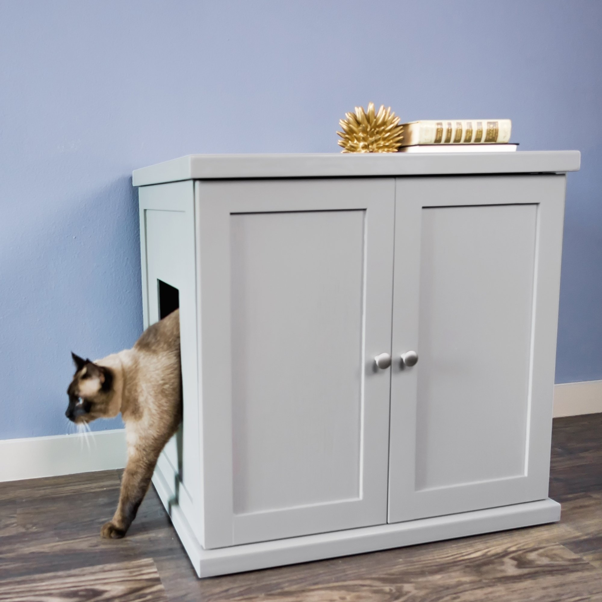 Shop The Refined Feline's Kitty Enclosed Wooden End Table & Litter with regard to Jigsaw Refinement Sideboards (Image 11 of 30)
