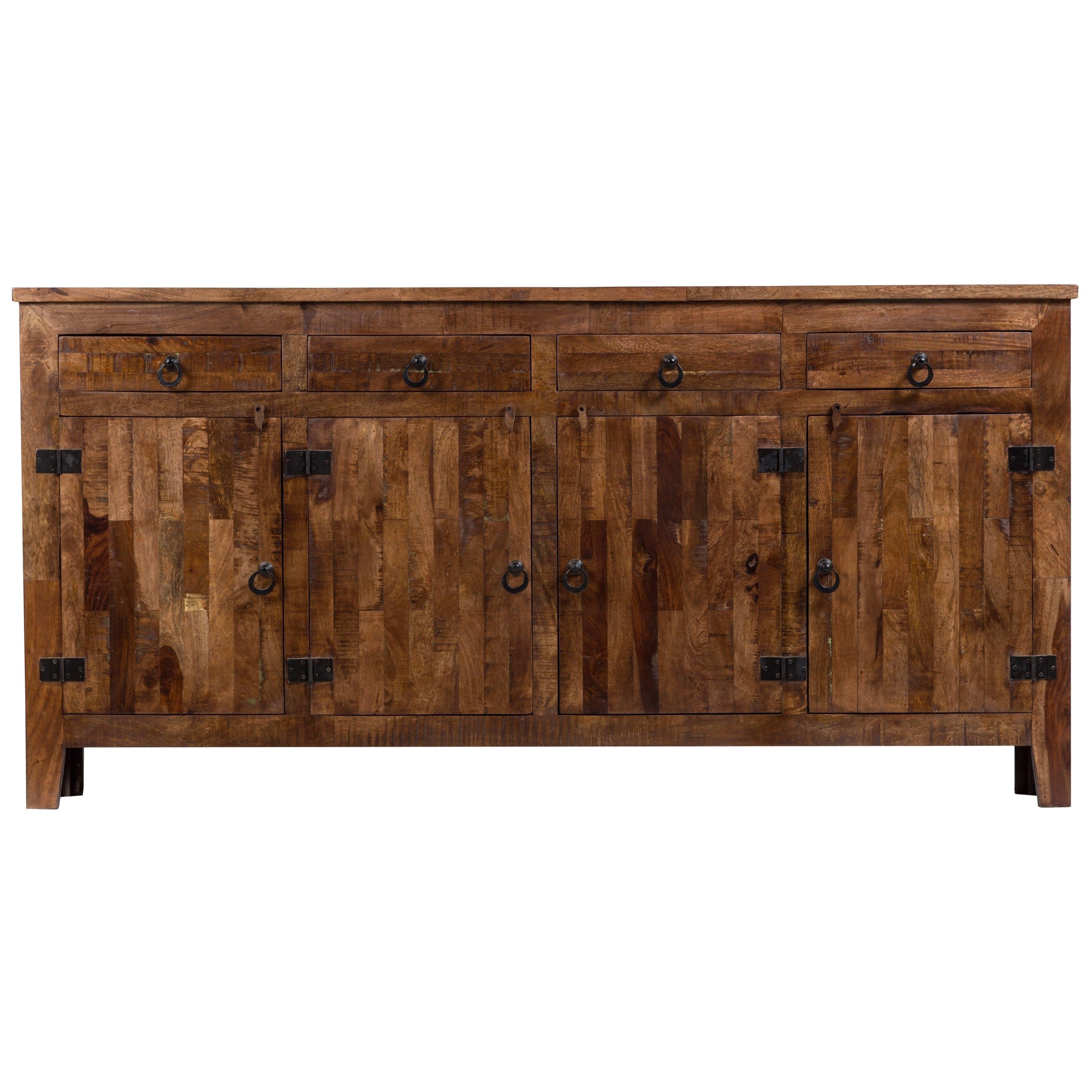 Shop Wanderloot Vintage Rustic Mango Wood 4 Door 4 Drawer Sideboard In Mango Wood Grey 4 Drawer 4 Door Sideboards (View 6 of 30)