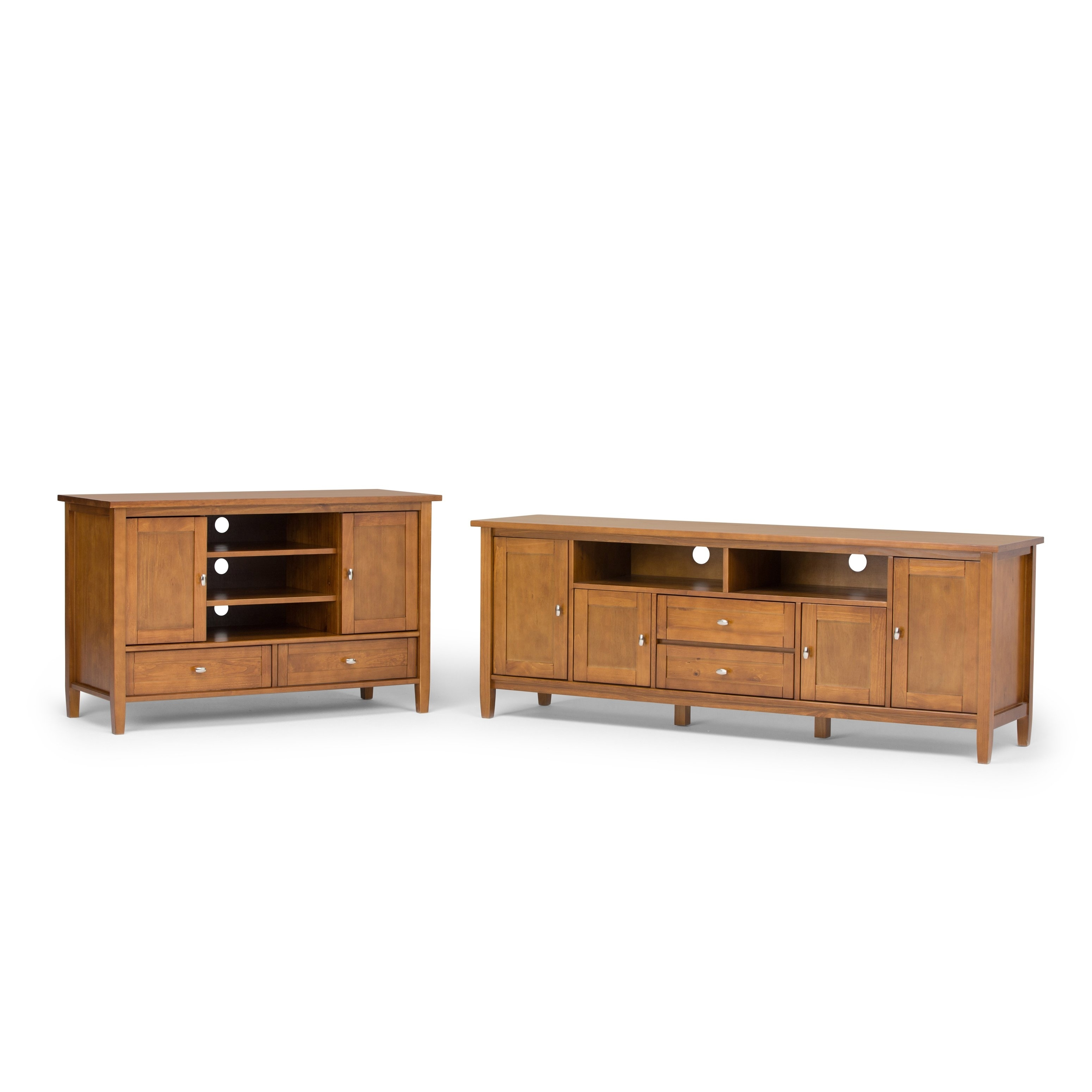 Shop Wyndenhall Norfolk 72-Inch Honey Brown Tv Stand For Up To 80 with Brown Wood 72 Inch Sideboards (Image 25 of 30)