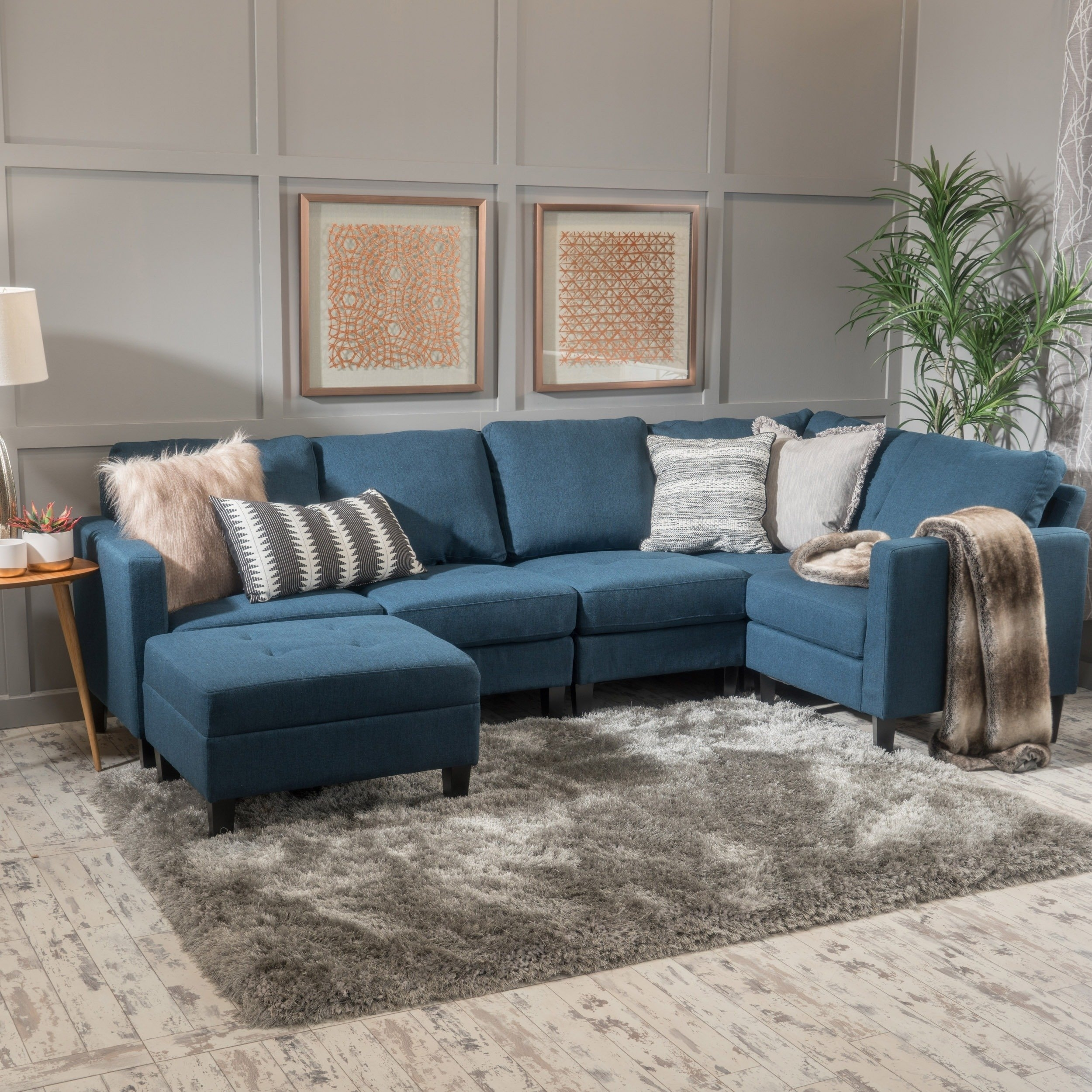 Shop Zahra 6-Piece Fabric Sofa Sectional With Ottomanchristopher throughout Haven Blue Steel 3 Piece Sectionals (Image 29 of 30)