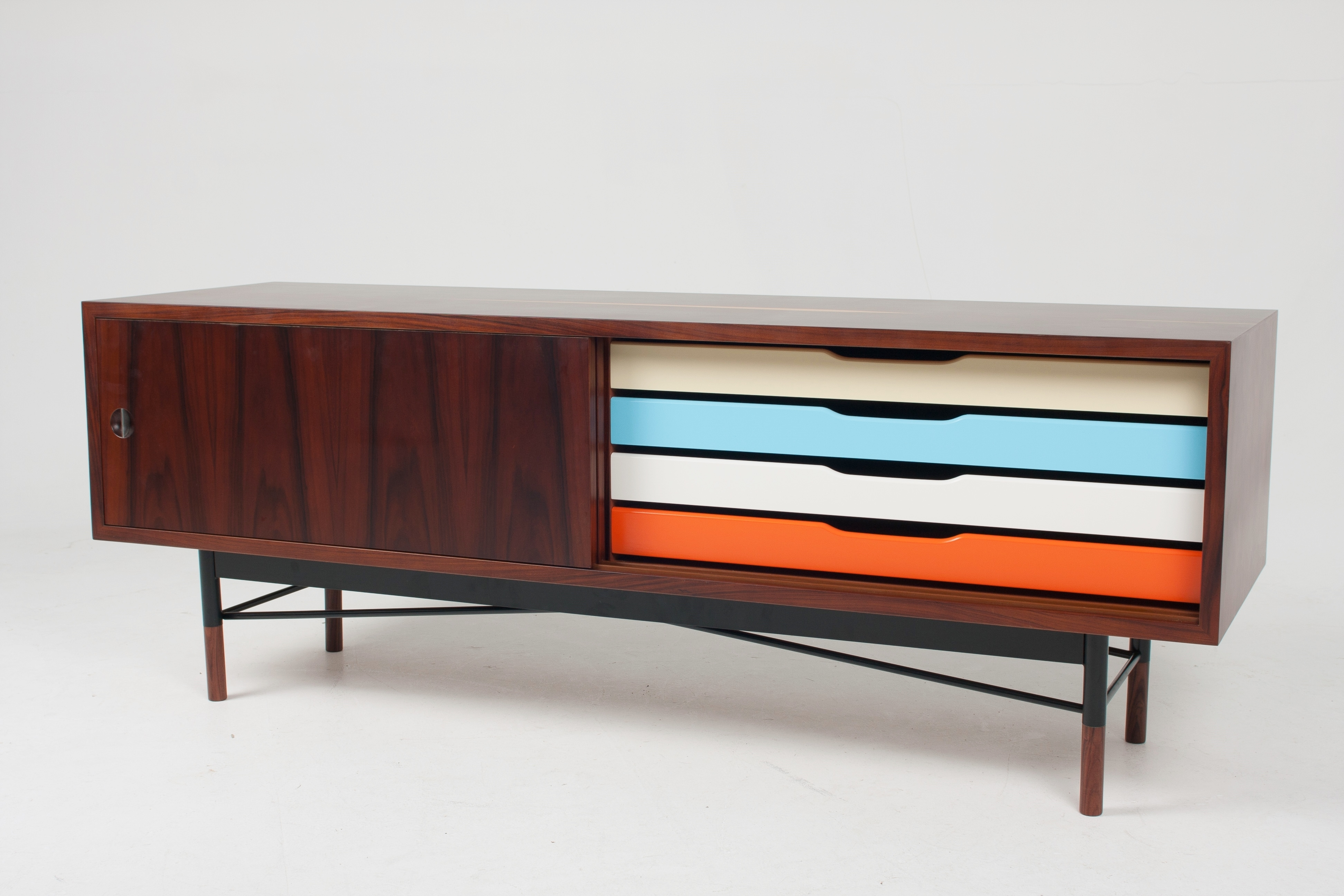 Sideboard Furniture Design Come With Walnut Material And Varnished for Walnut Finish 4-Door Sideboards (Image 23 of 30)