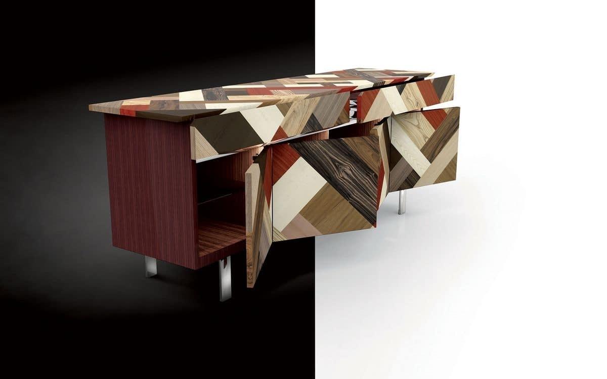 Sideboard In Rosewood, Covering In Crossed Wood Essences, Ideal For regarding Ironwood 4-Door Sideboards (Image 24 of 30)