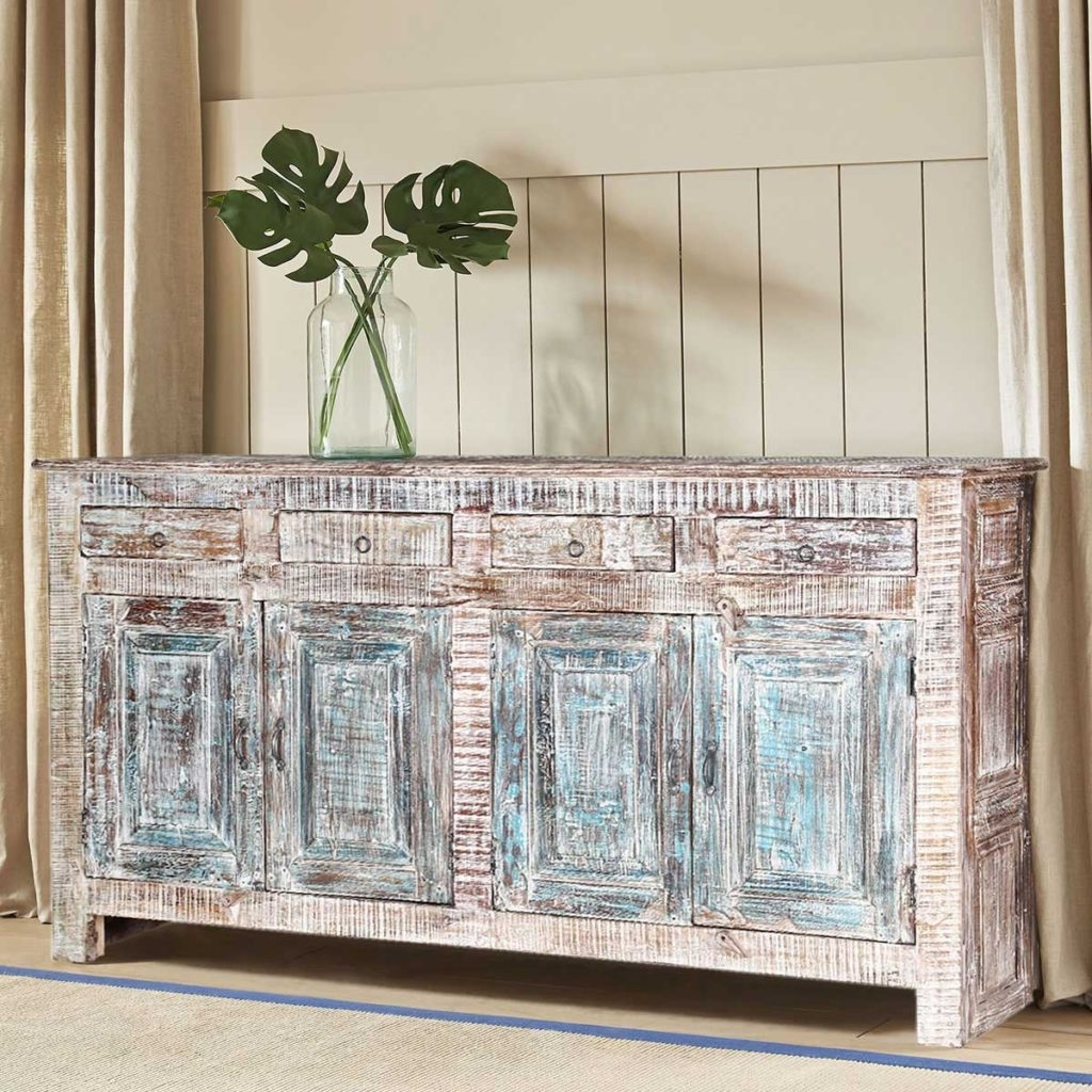Sierra Living Concepts | Winter White Rustic Reclaimed Wood 4 Drawer throughout Reclaimed Pine Turquoise 4-Door Sideboards (Image 27 of 30)