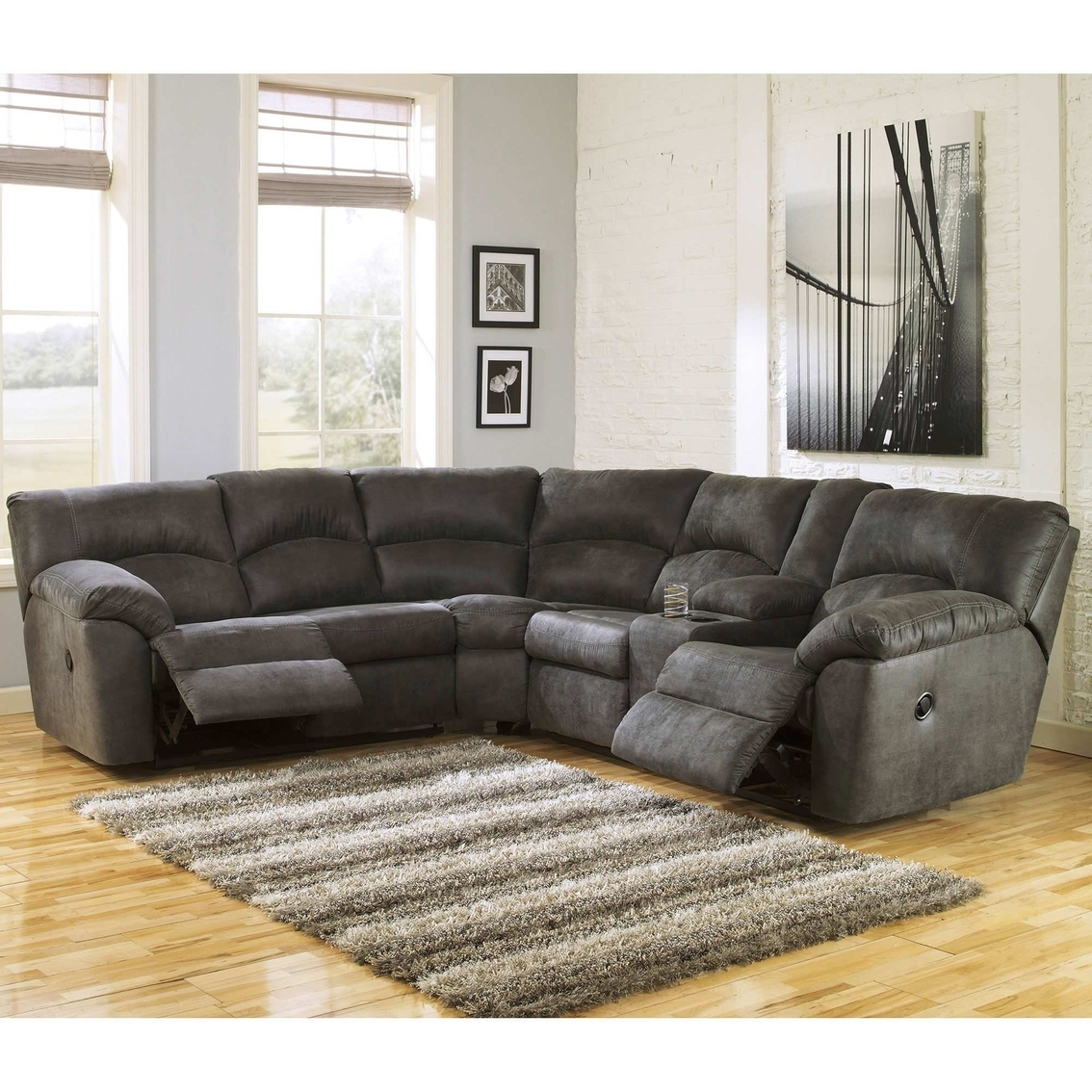 Signature Design Ashley Tambo Reclining Sectional Sofas Couch Locks for Norfolk Grey 6 Piece Sectionals With Raf Chaise (Image 28 of 30)