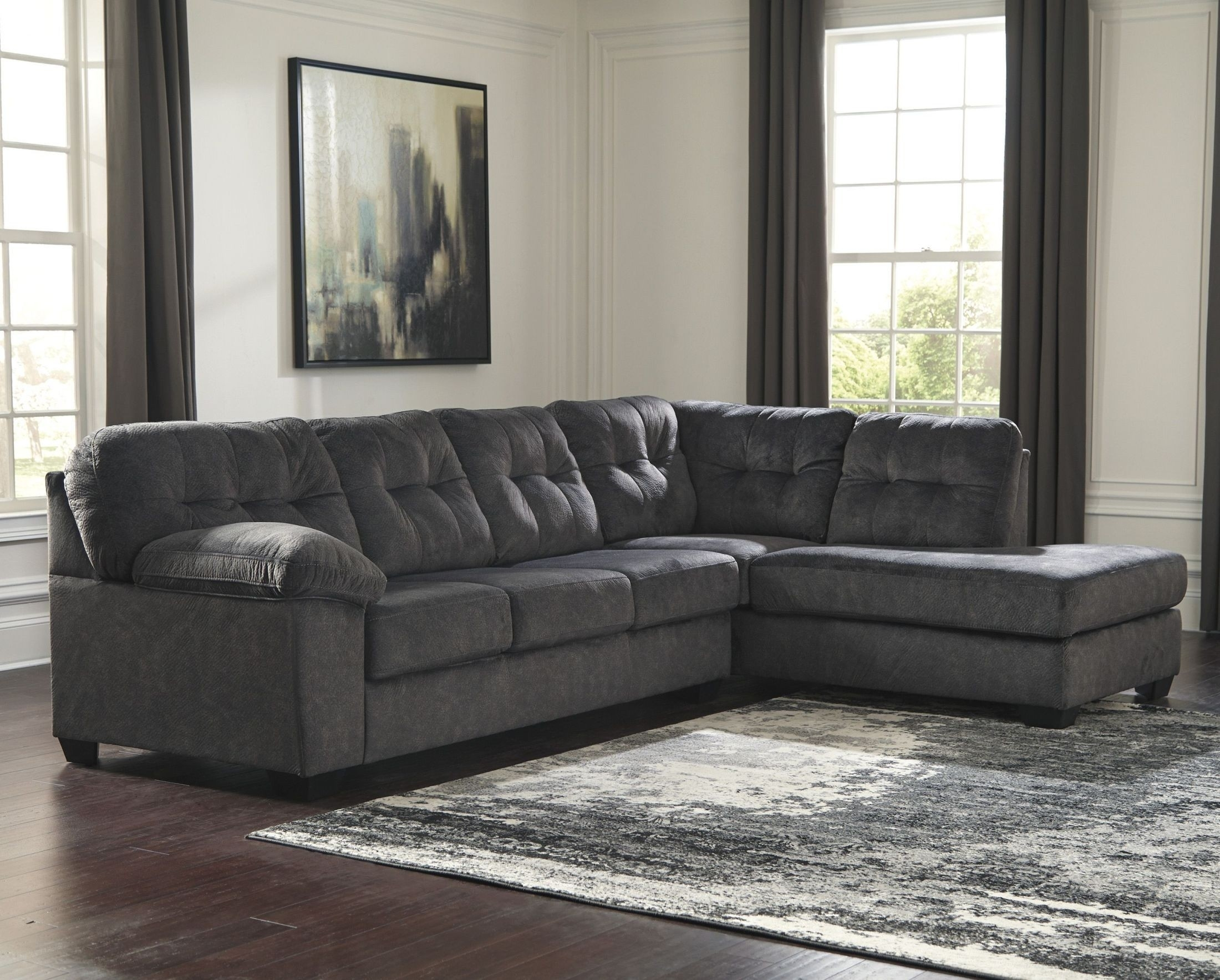 Signature Designashley Accrington Granite Raf Sectional within Kerri 2 Piece Sectionals With Raf Chaise (Image 29 of 30)