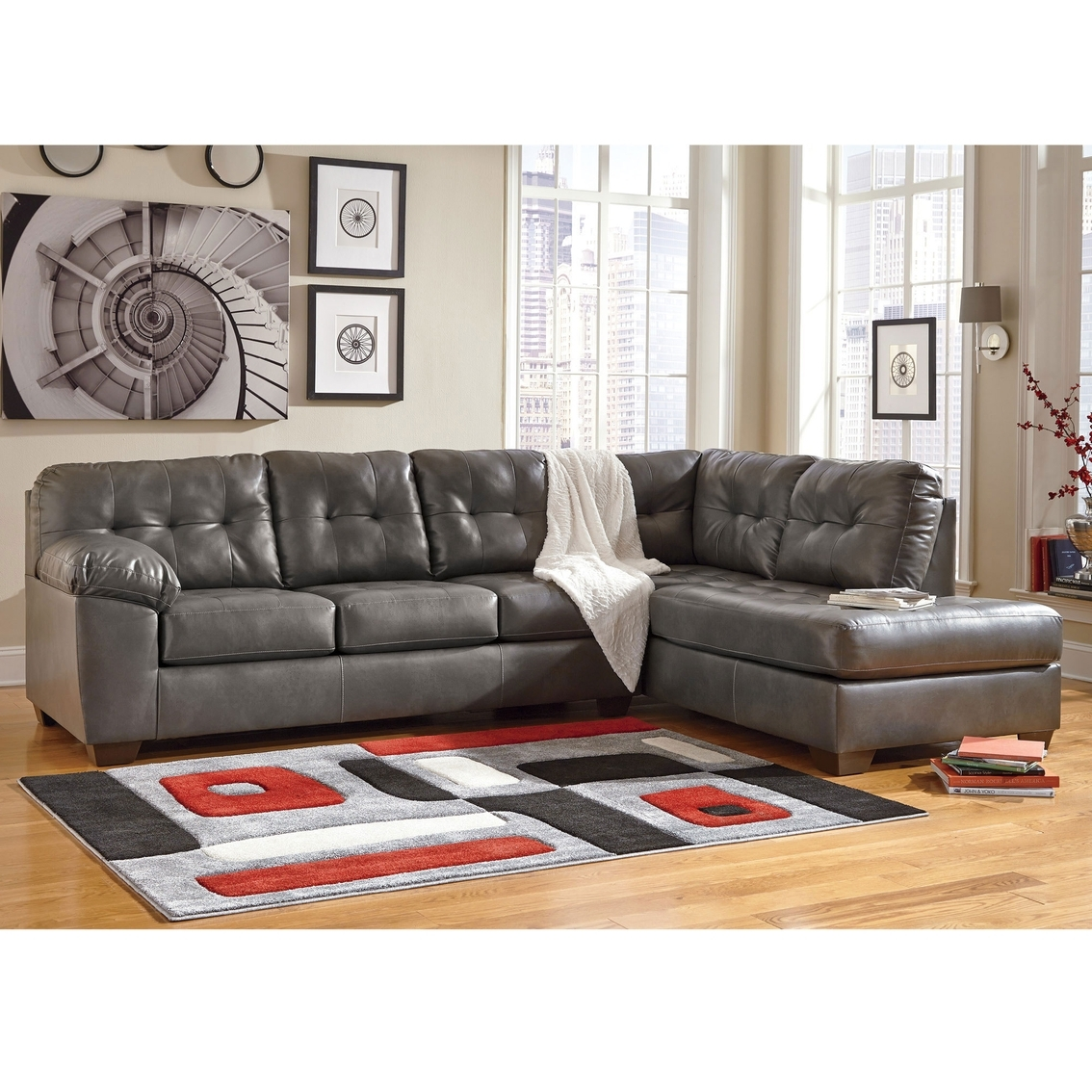 Signature Designashley Alliston Durablend 2 Pc. Sectional Raf in Cosmos Grey 2 Piece Sectionals With Laf Chaise (Image 21 of 30)