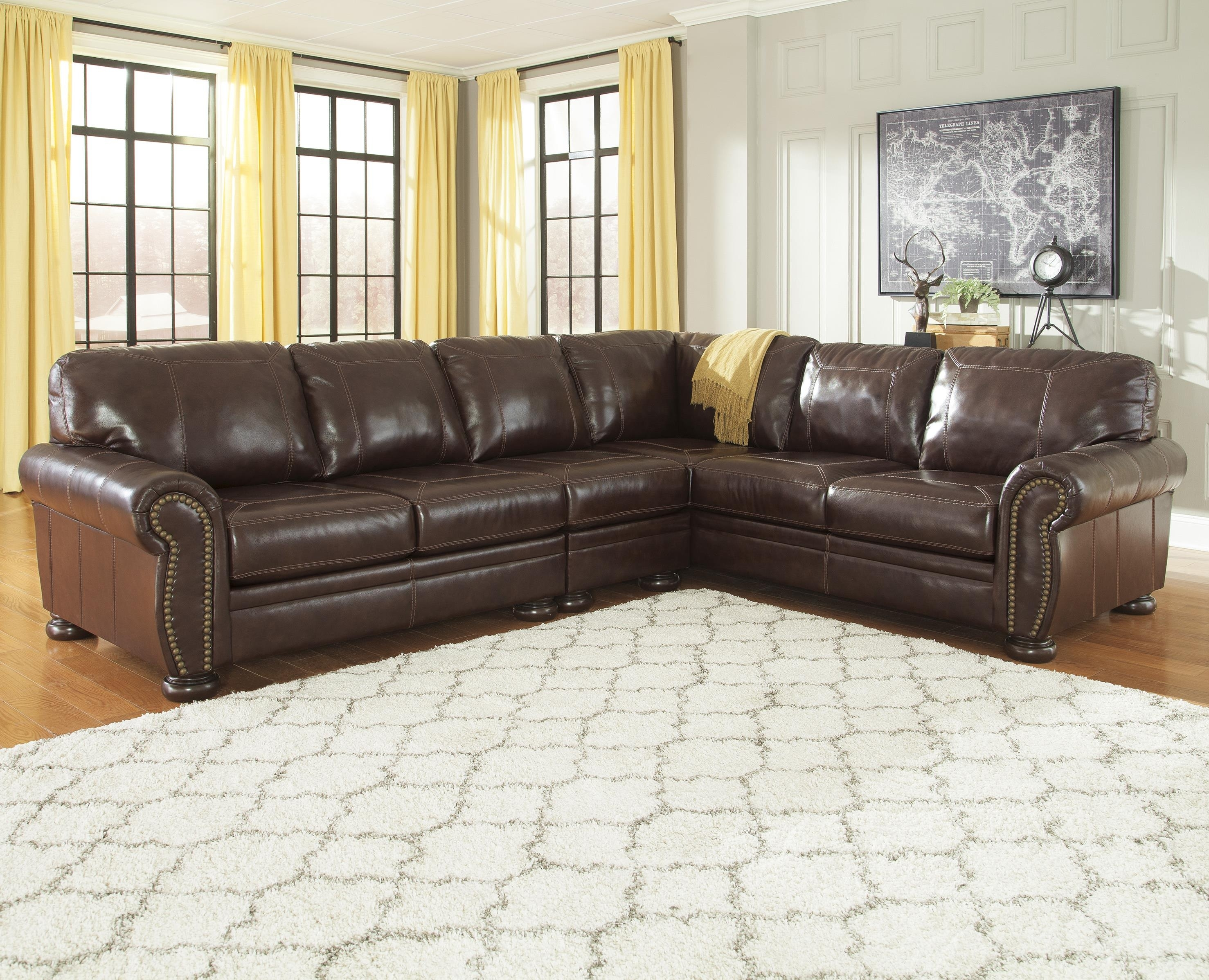Signature Designashley Banner 3-Piece Leather Match Sectional with Jackson 6 Piece Power Reclining Sectionals With  Sleeper (Image 27 of 30)