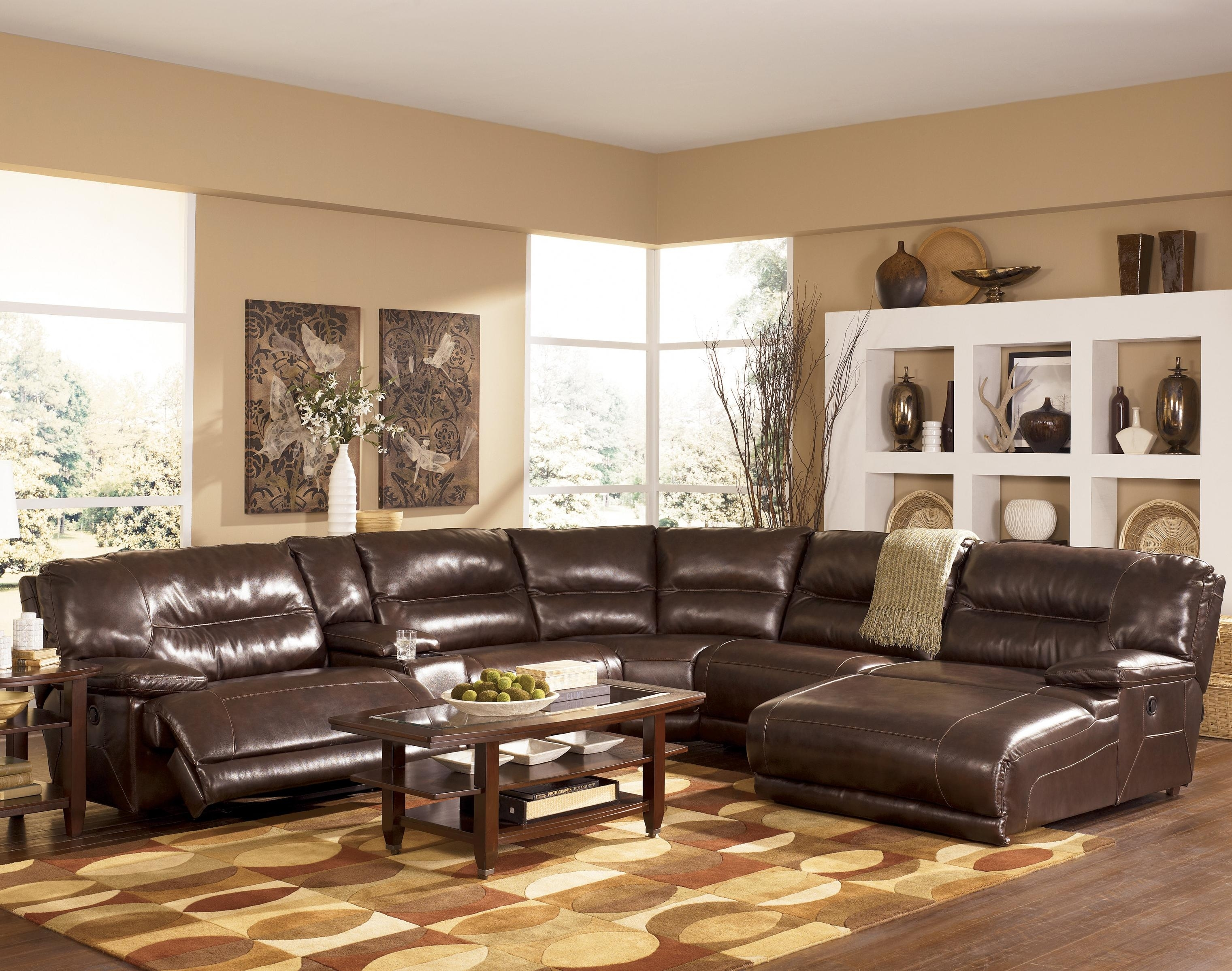 Signature Designashley Exhilaration - Chocolate Contemporary with Norfolk Chocolate 6 Piece Sectionals With Raf Chaise (Image 23 of 30)