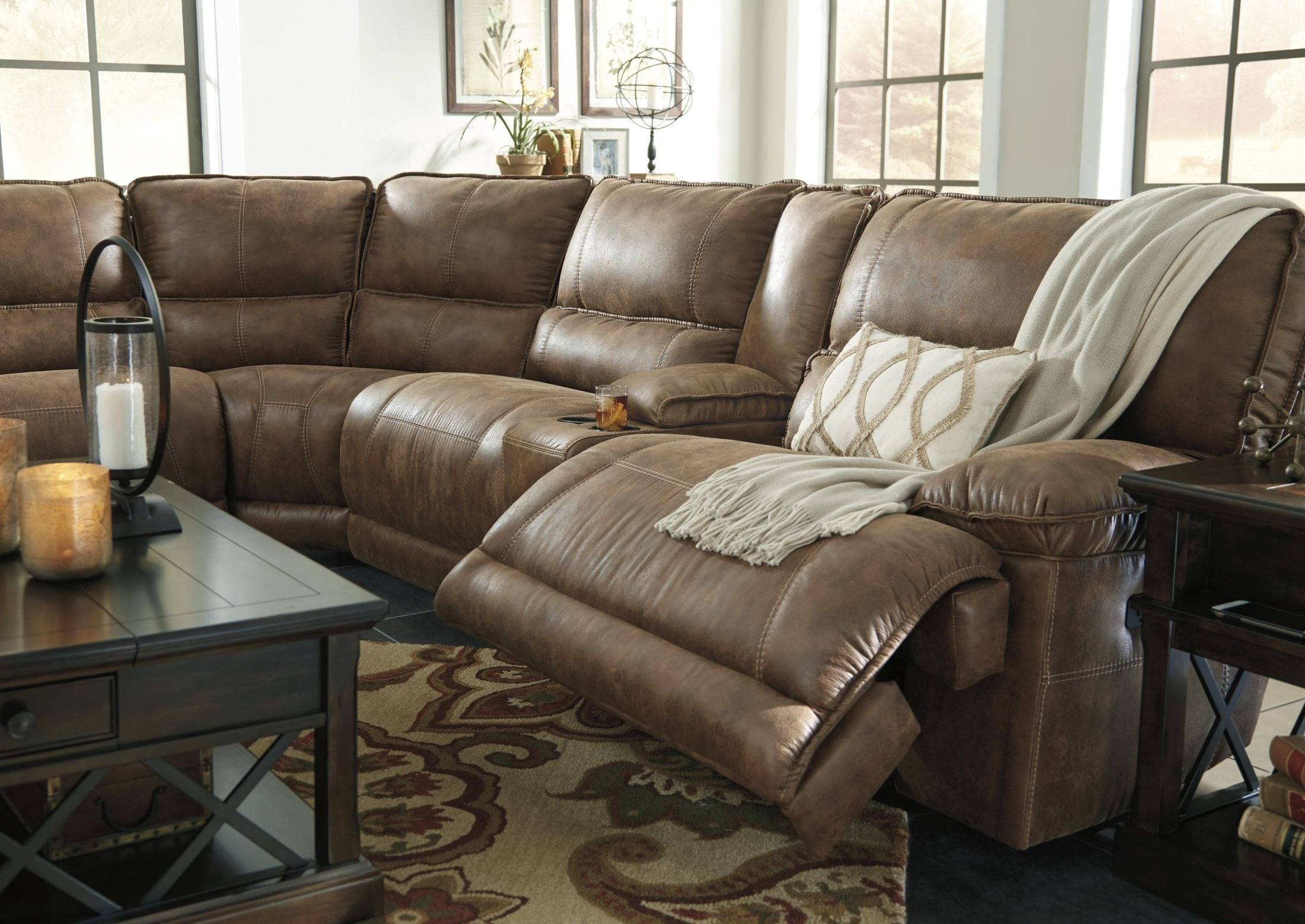 Signature Designashley Grattis Saddle Power Reclining Sectional for Tess 2 Piece Power Reclining Sectionals With Laf Chaise (Image 16 of 30)