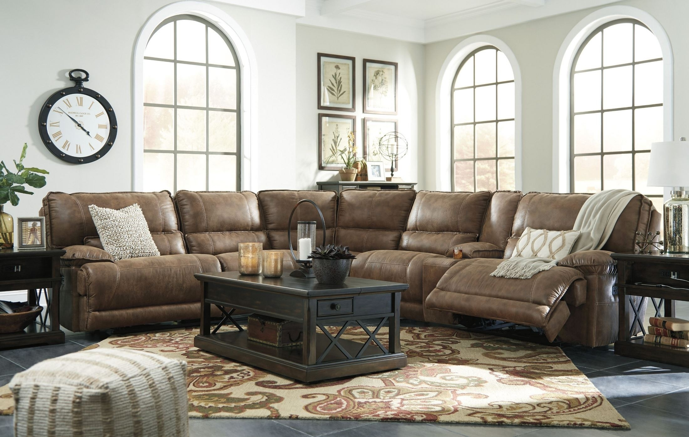 Signature Designashley Grattis Saddle Power Reclining Sectional inside Tess 2 Piece Power Reclining Sectionals With Laf Chaise (Image 17 of 30)