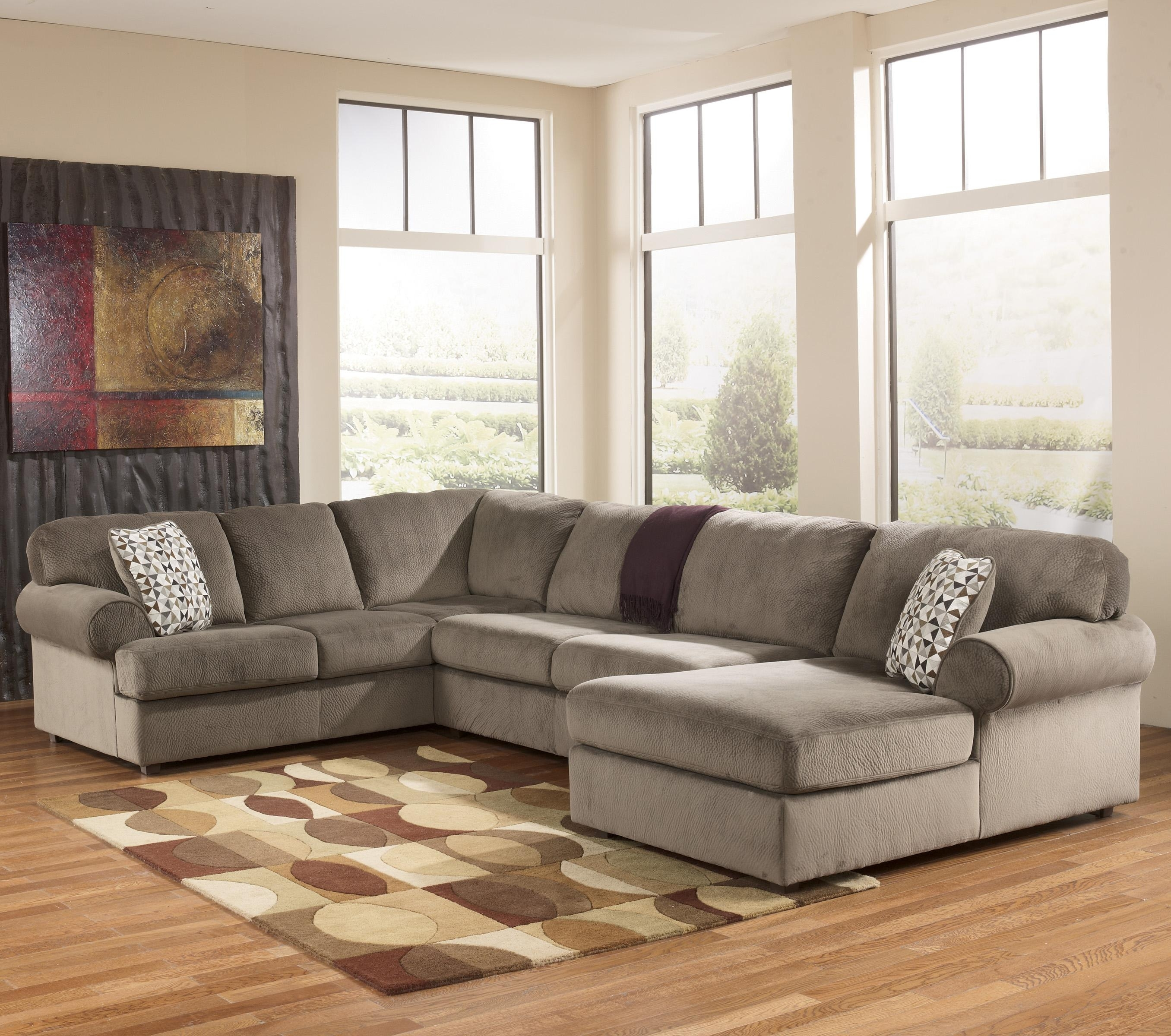 Signature Designashley Jessa Place - Dune Casual Sectional Sofa inside Norfolk Chocolate 3 Piece Sectionals With Raf Chaise (Image 26 of 30)