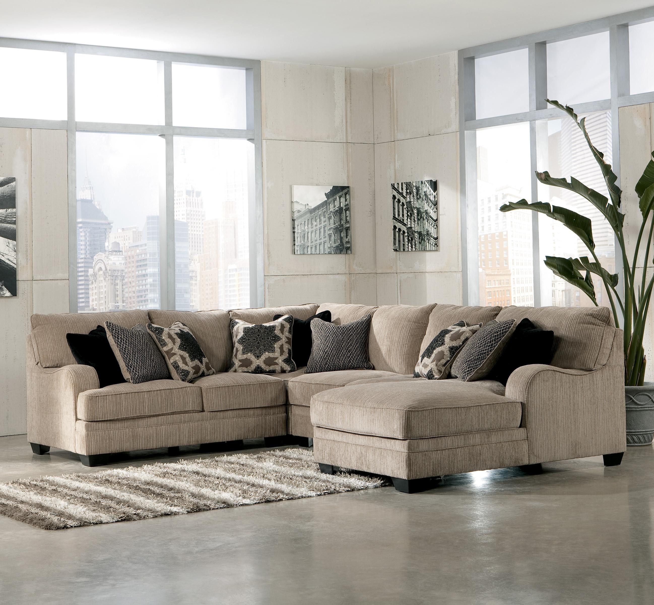 Signature Designashley Katisha - Platinum 4-Piece Sectional Sofa in Gordon 3 Piece Sectionals With Raf Chaise (Image 30 of 30)
