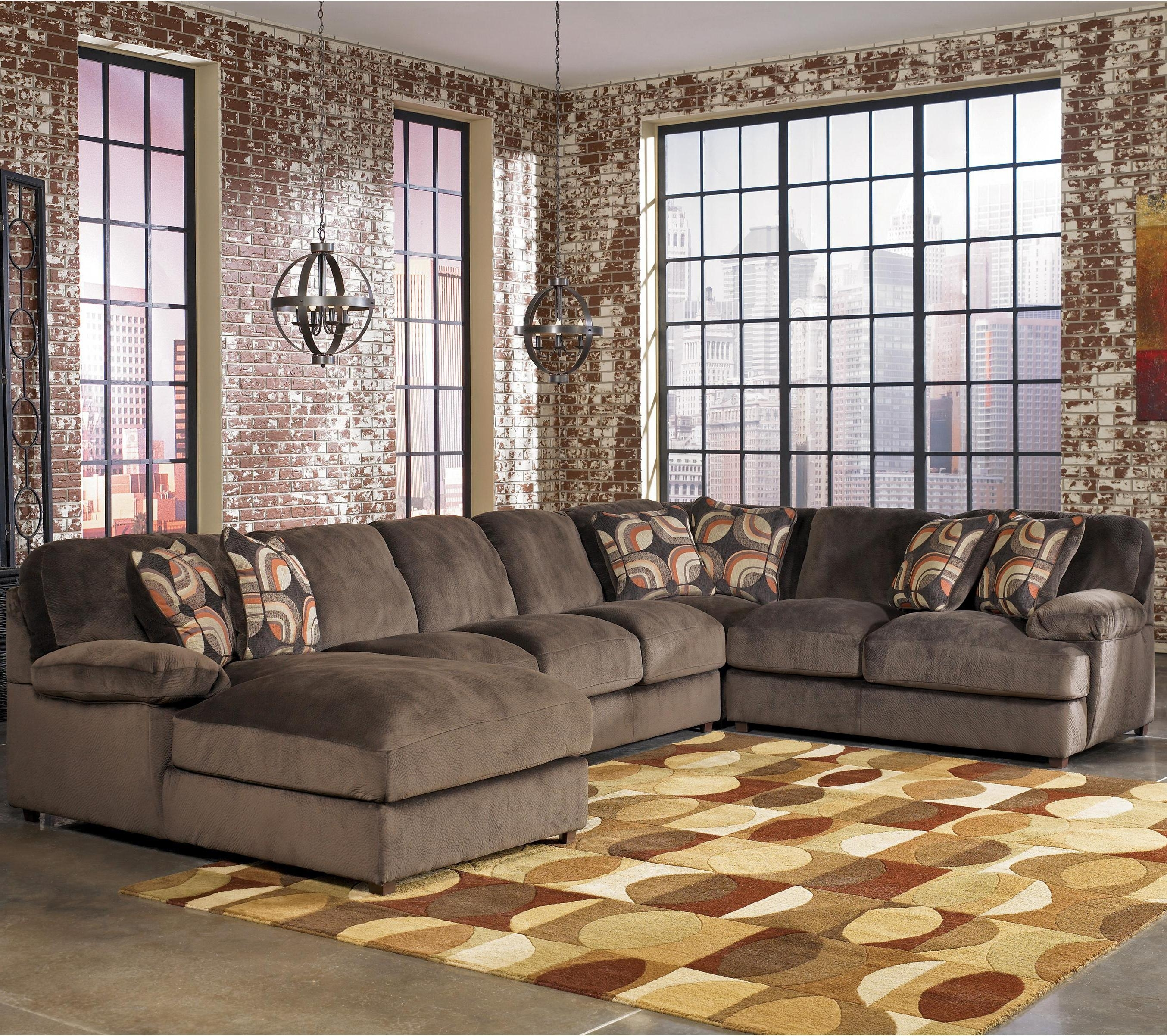 Signature Designashley Truscotti - Cafe Contemporary 4-Piece with Norfolk Chocolate 3 Piece Sectionals With Raf Chaise (Image 28 of 30)