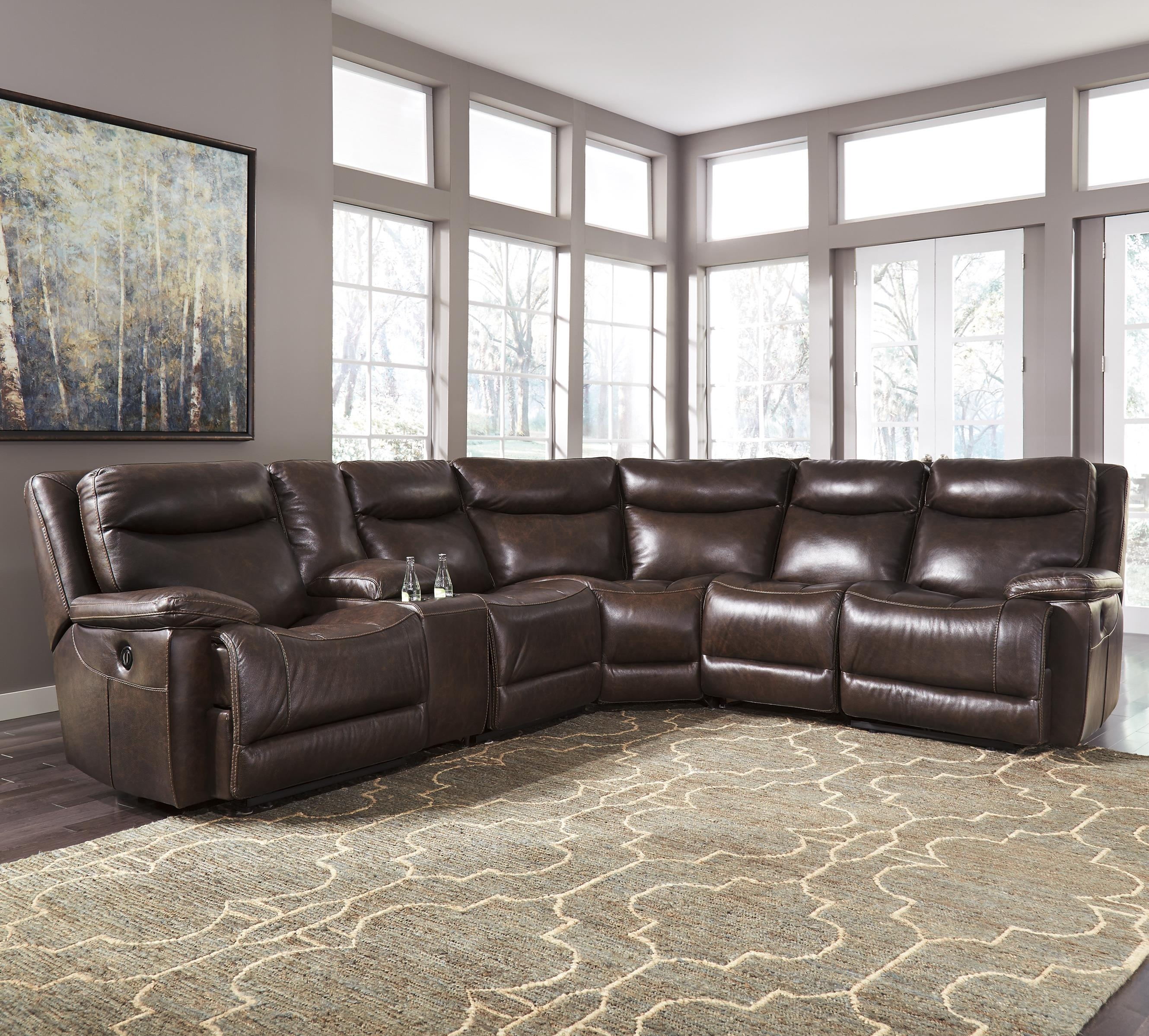 Signature Designashley Zaiden Contemporary Leather Match intended for Jackson 6 Piece Power Reclining Sectionals (Image 28 of 30)