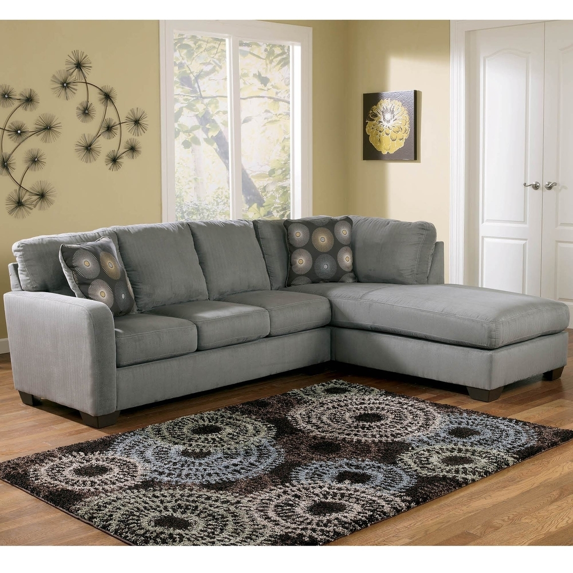 Signature Designashley Zella 2 Pc. Sectional Raf Corner Chaise with Cosmos Grey 2 Piece Sectionals With Laf Chaise (Image 23 of 30)