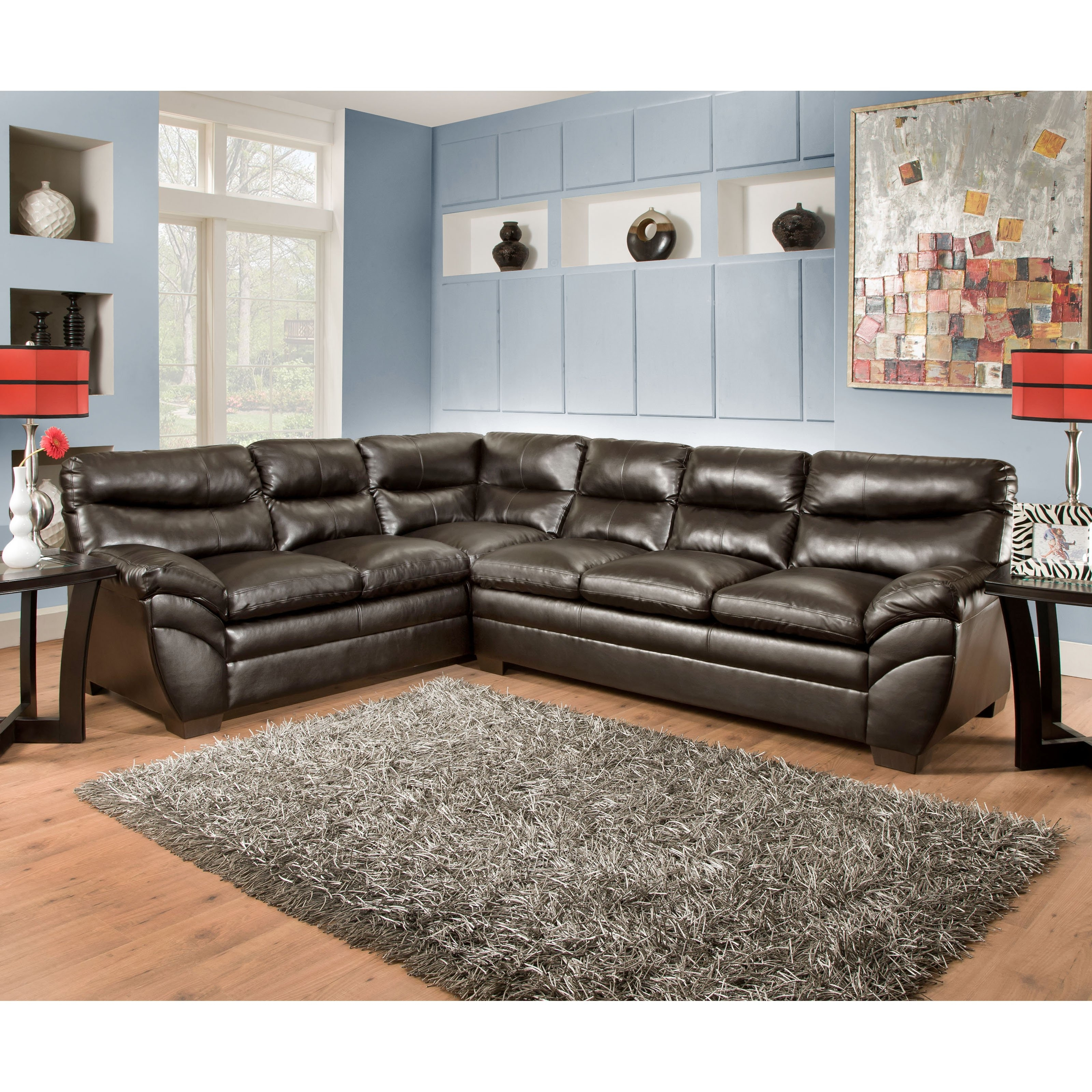 Simmons Soho Bonded Leather Sectional | Hayneedle in Lucy Dark Grey 2 Piece Sleeper Sectionals With Laf Chaise (Image 26 of 30)