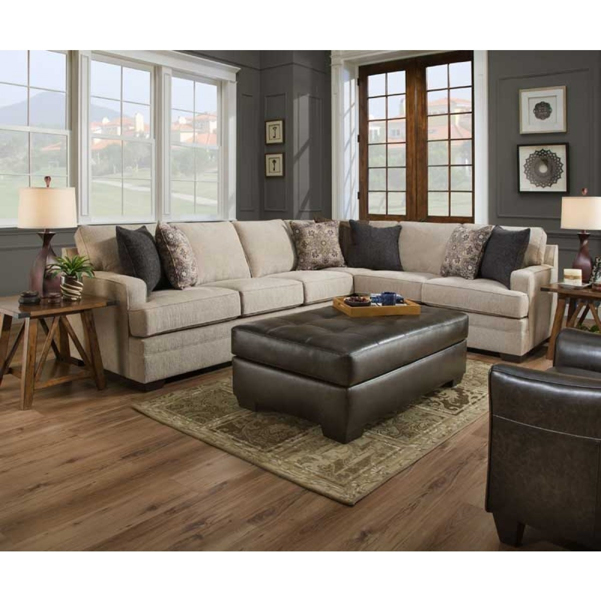 Simmons Upholstery - Macy Sand 2 Piece Sectional - 9165Br-03L-03Rb intended for Harper Foam 3 Piece Sectionals With Raf Chaise (Image 26 of 30)