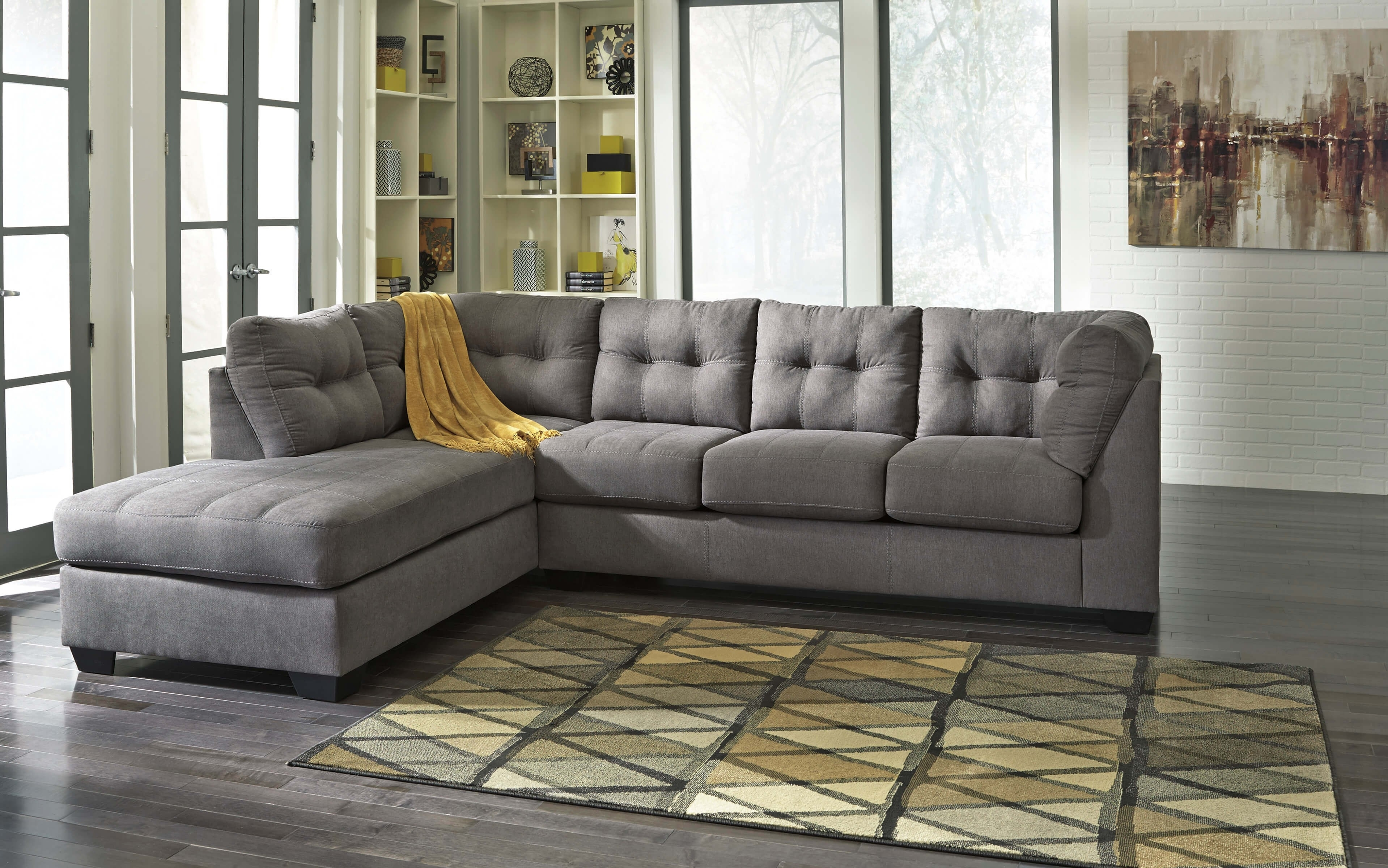 Simmons Venture Smoke Fabric Sectional Udf Products Bacarat Taupe With Sierra Down 3 Piece Sectionals With Laf Chaise (View 28 of 30)
